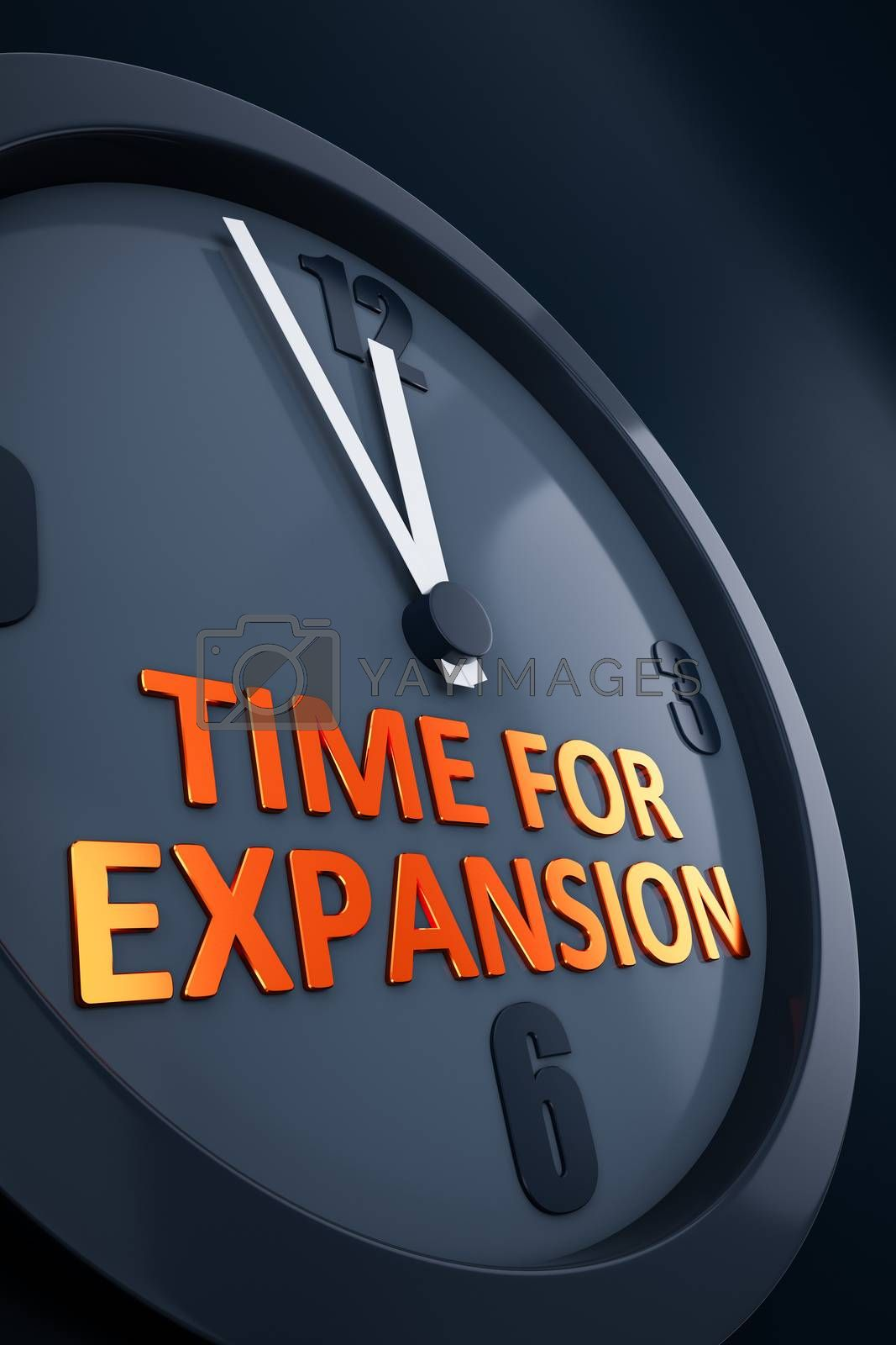 A clock with text time for expansion 3D illustration