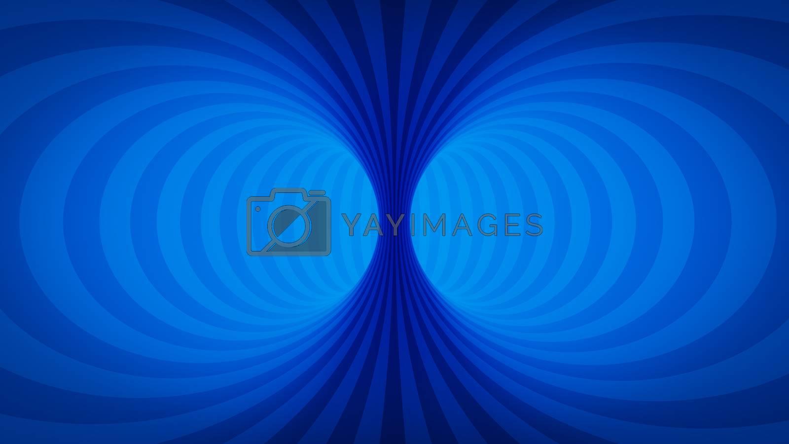 An optical illusion blue tunnel 3D illustration