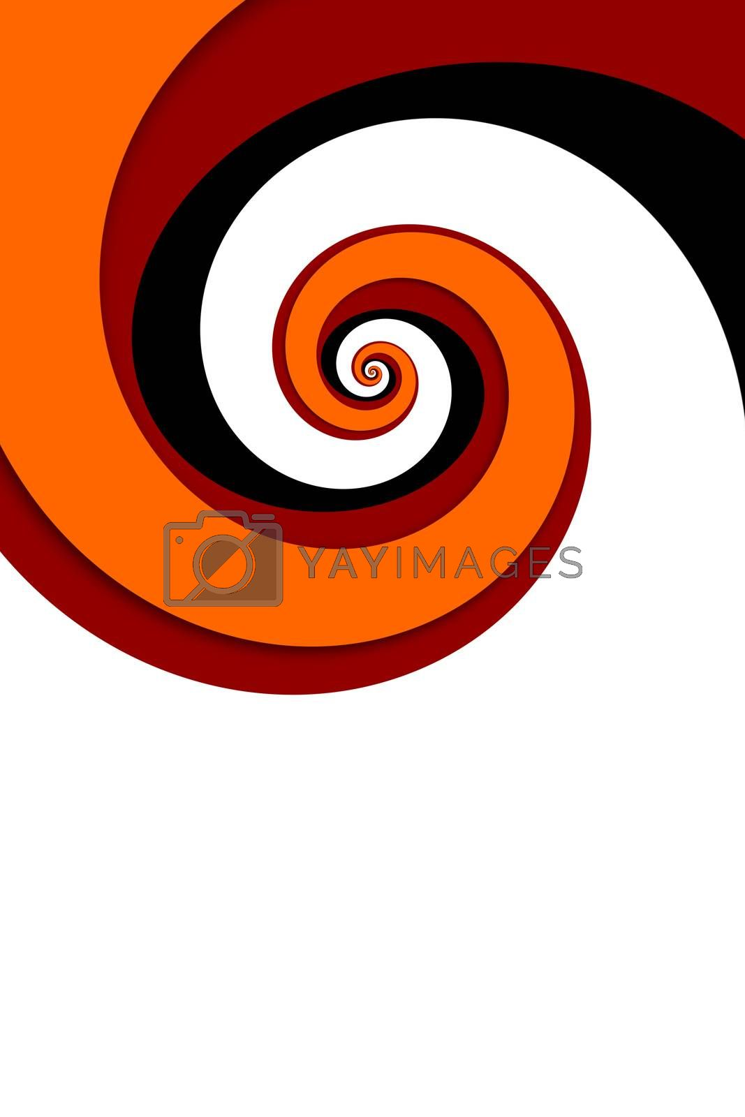 An illustration of a red spiral background