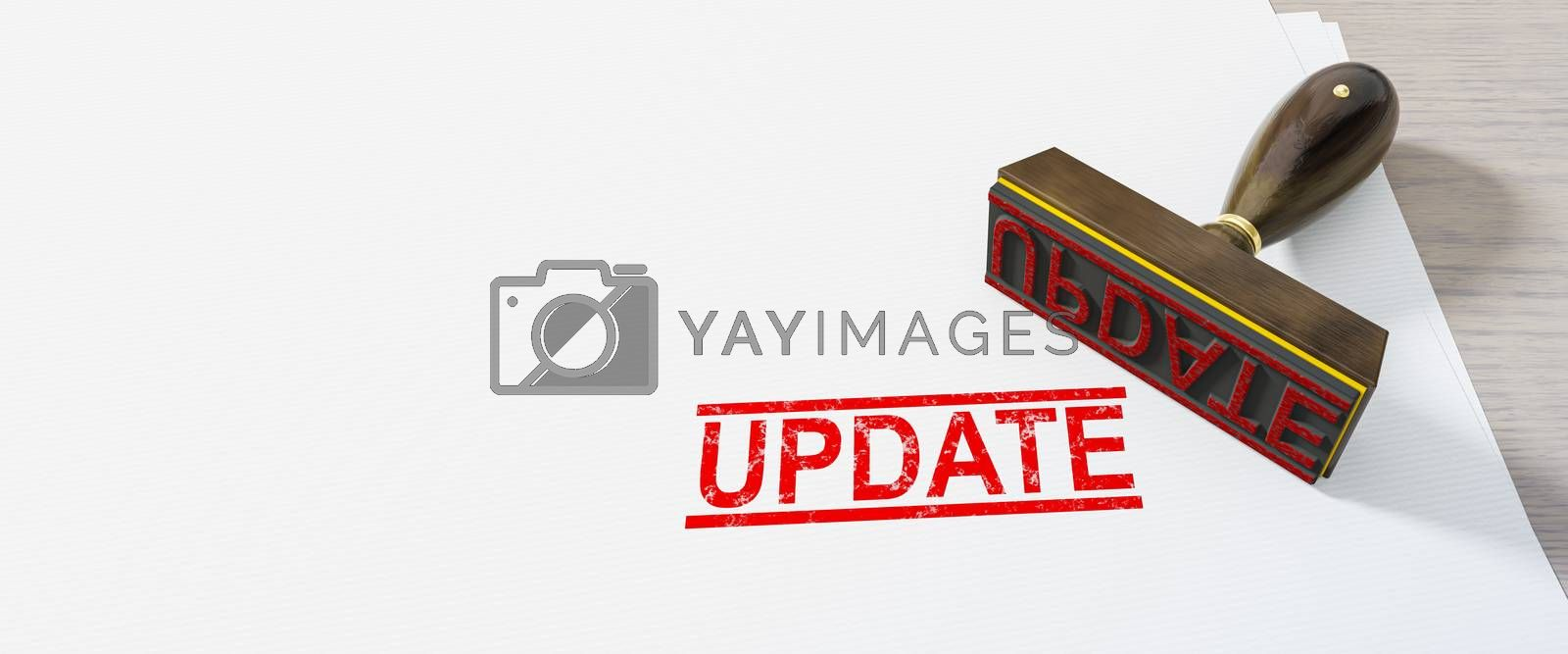 red update stamp on white paper background 3D illustration