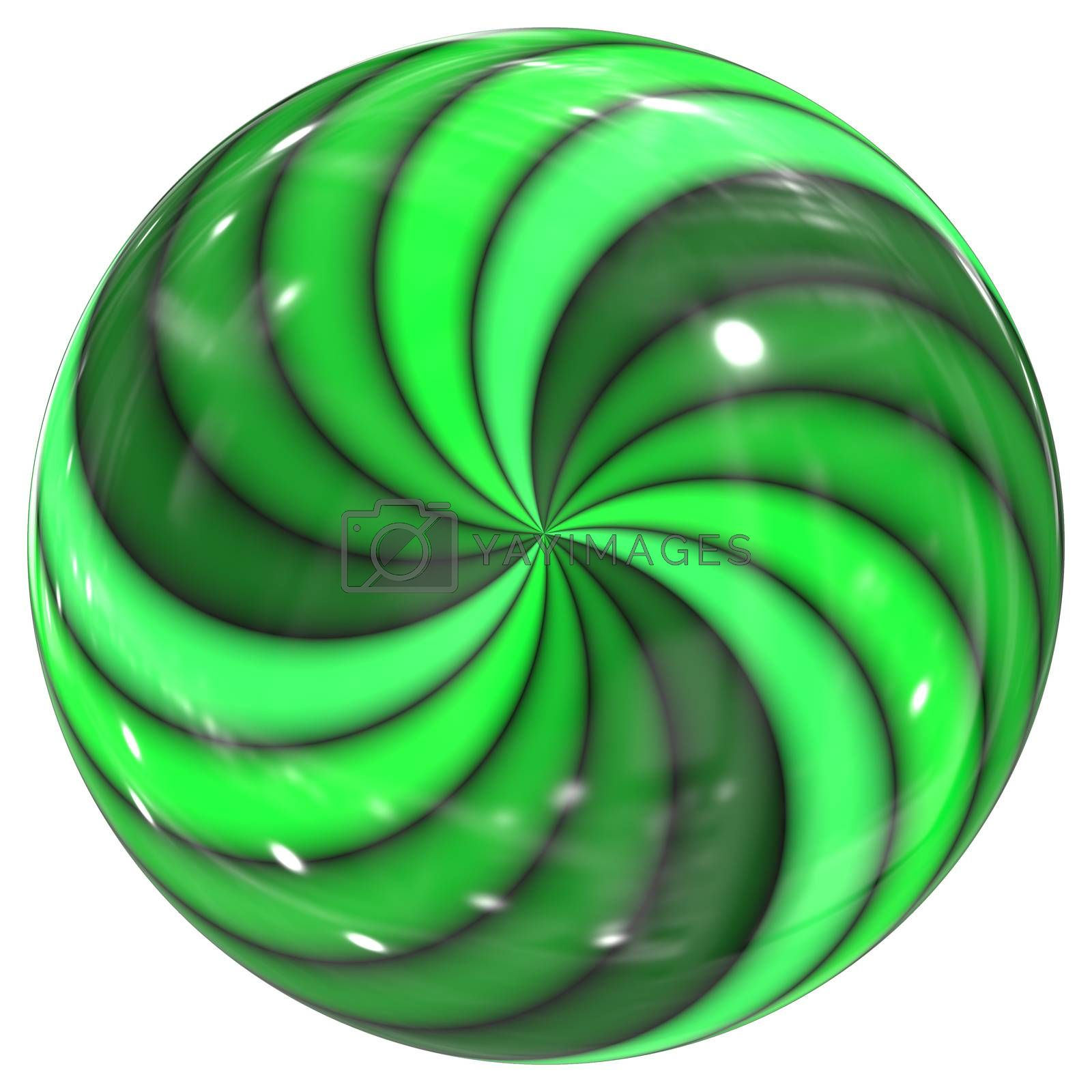 An illustration of a green swirl glass sphere