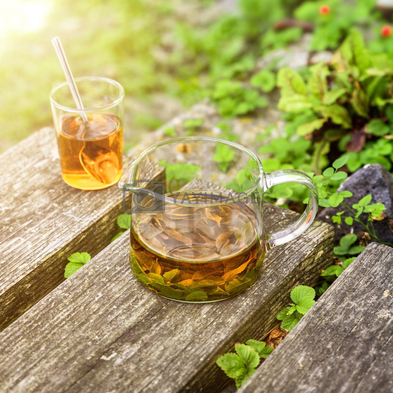 verbena tea on old wooden planks by magann