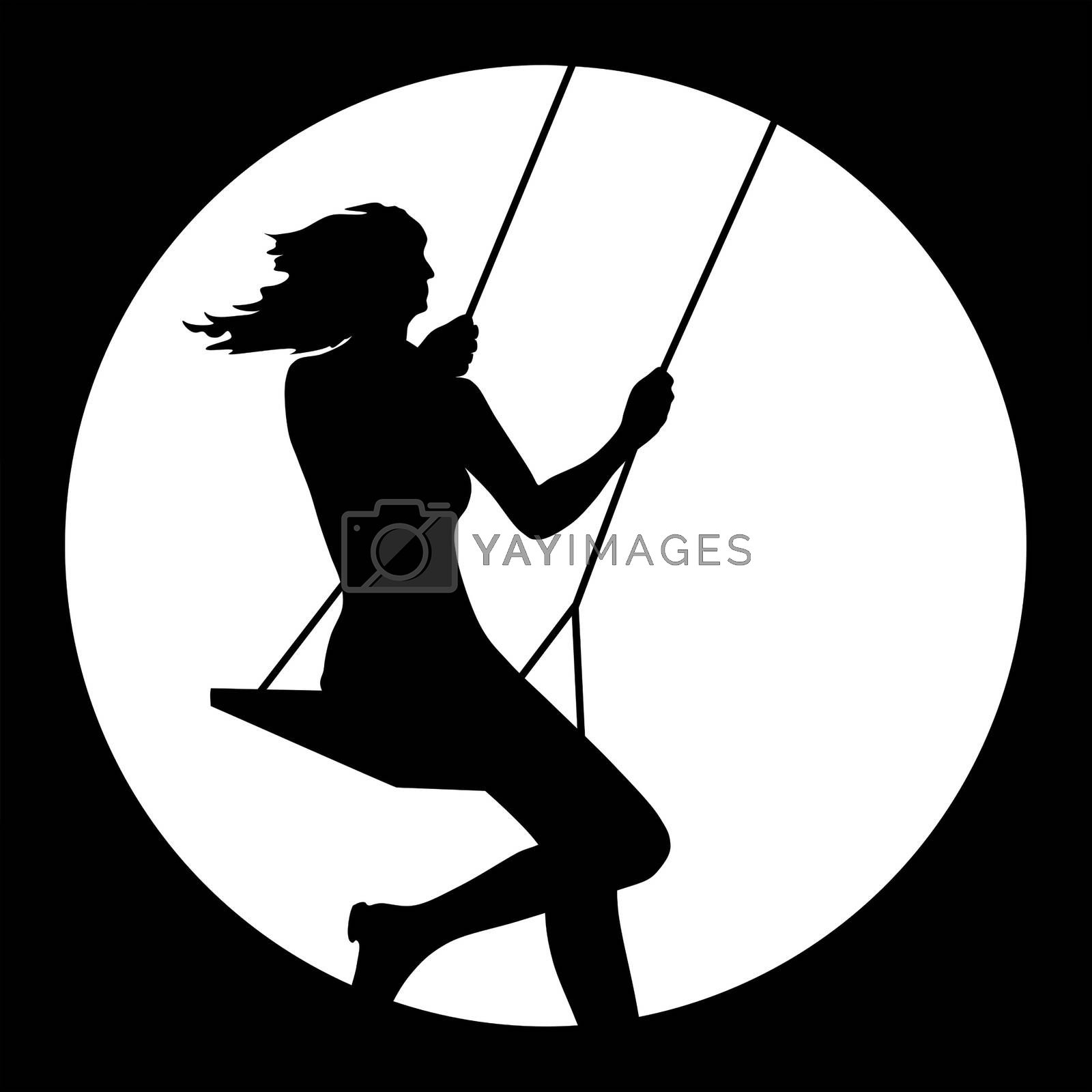 young woman swinging icon by magann