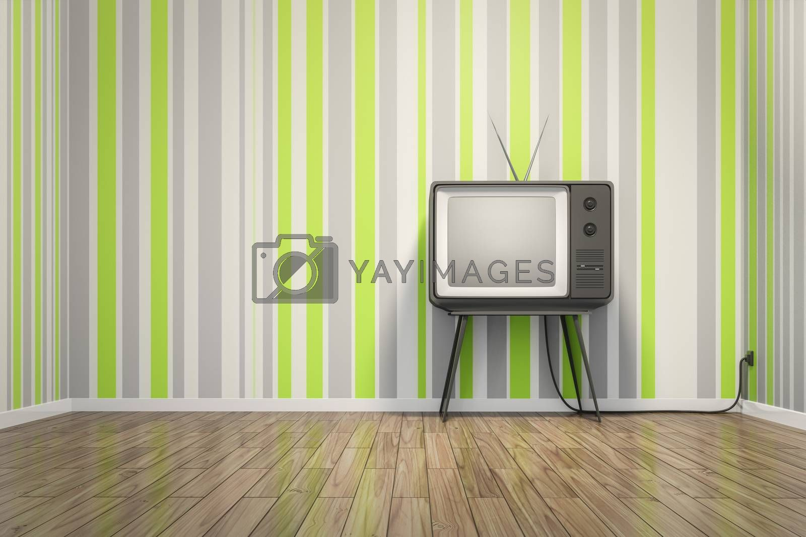 an old vintage tube television in seventies style room 3D illustration