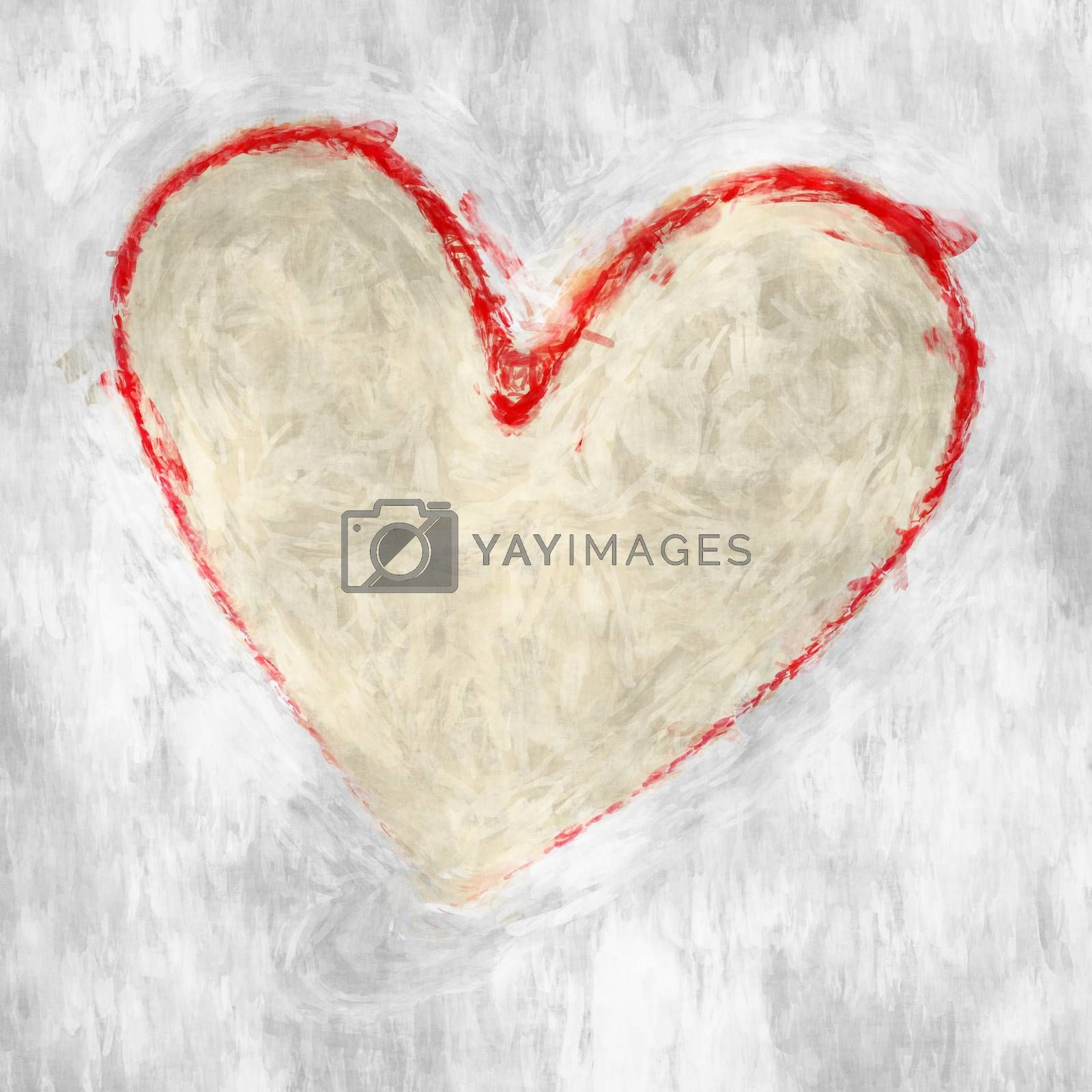 An image of a roughly painted red heart on white