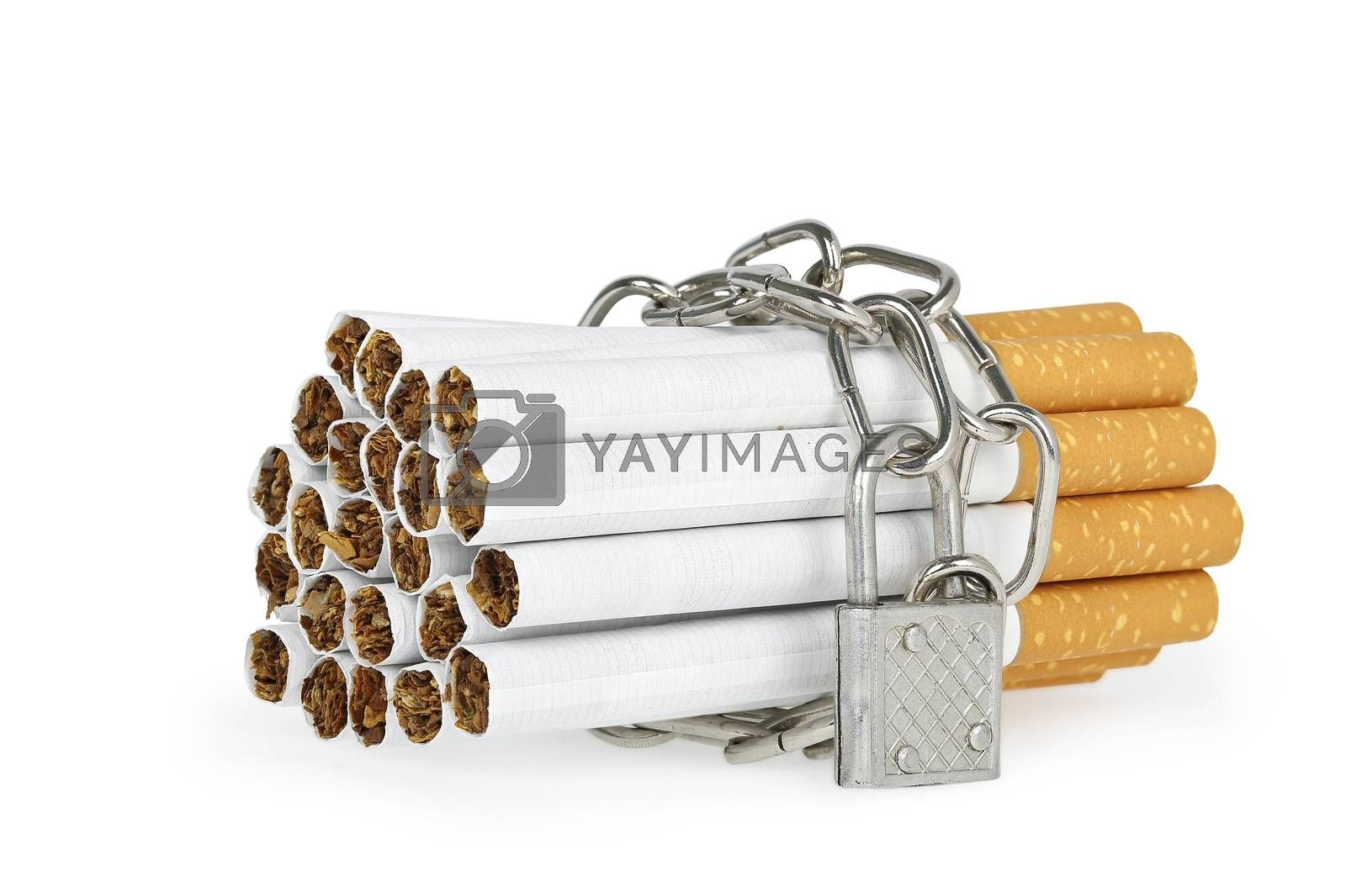 chain with padlock around cigarettes on white