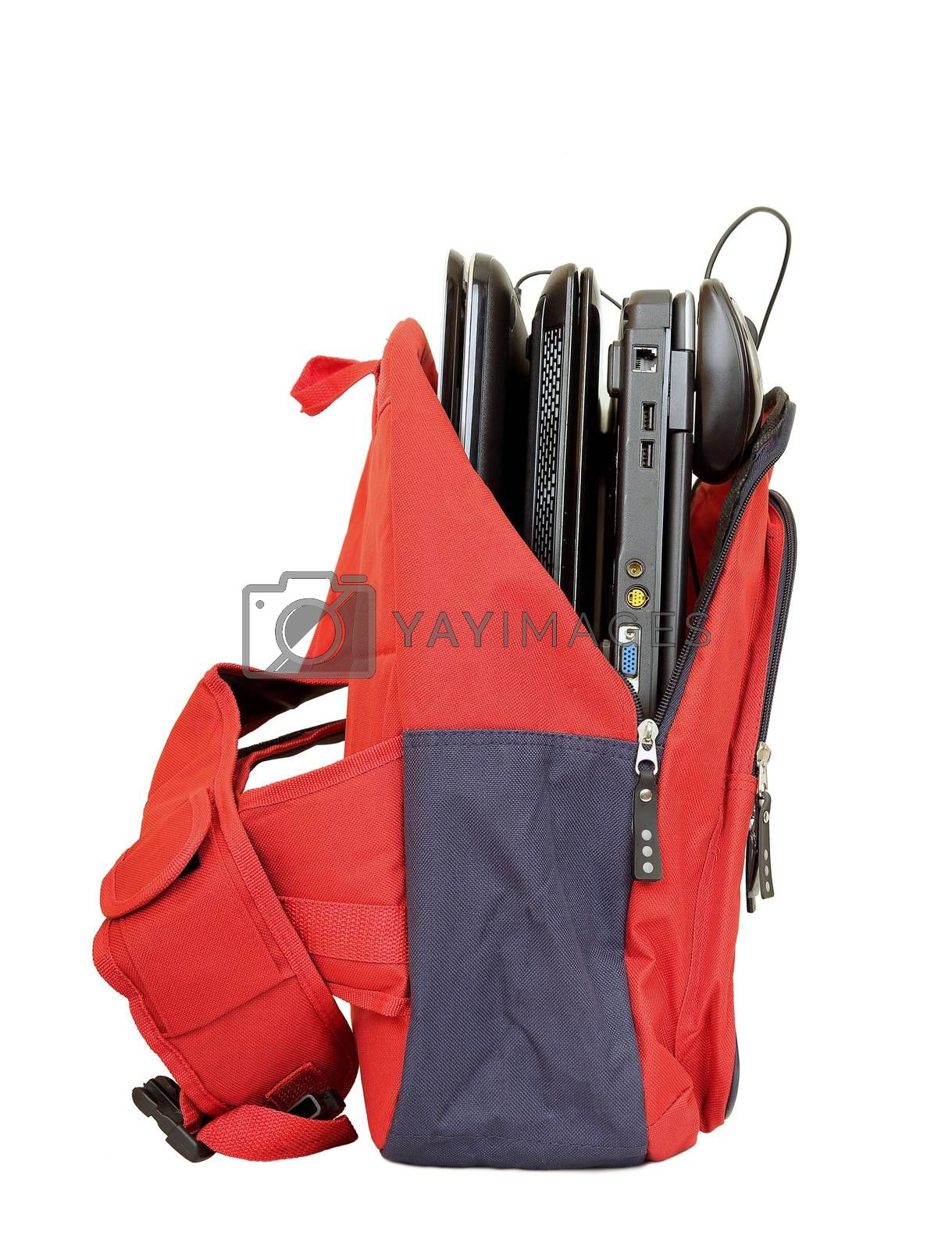 school bag with laptops isolated