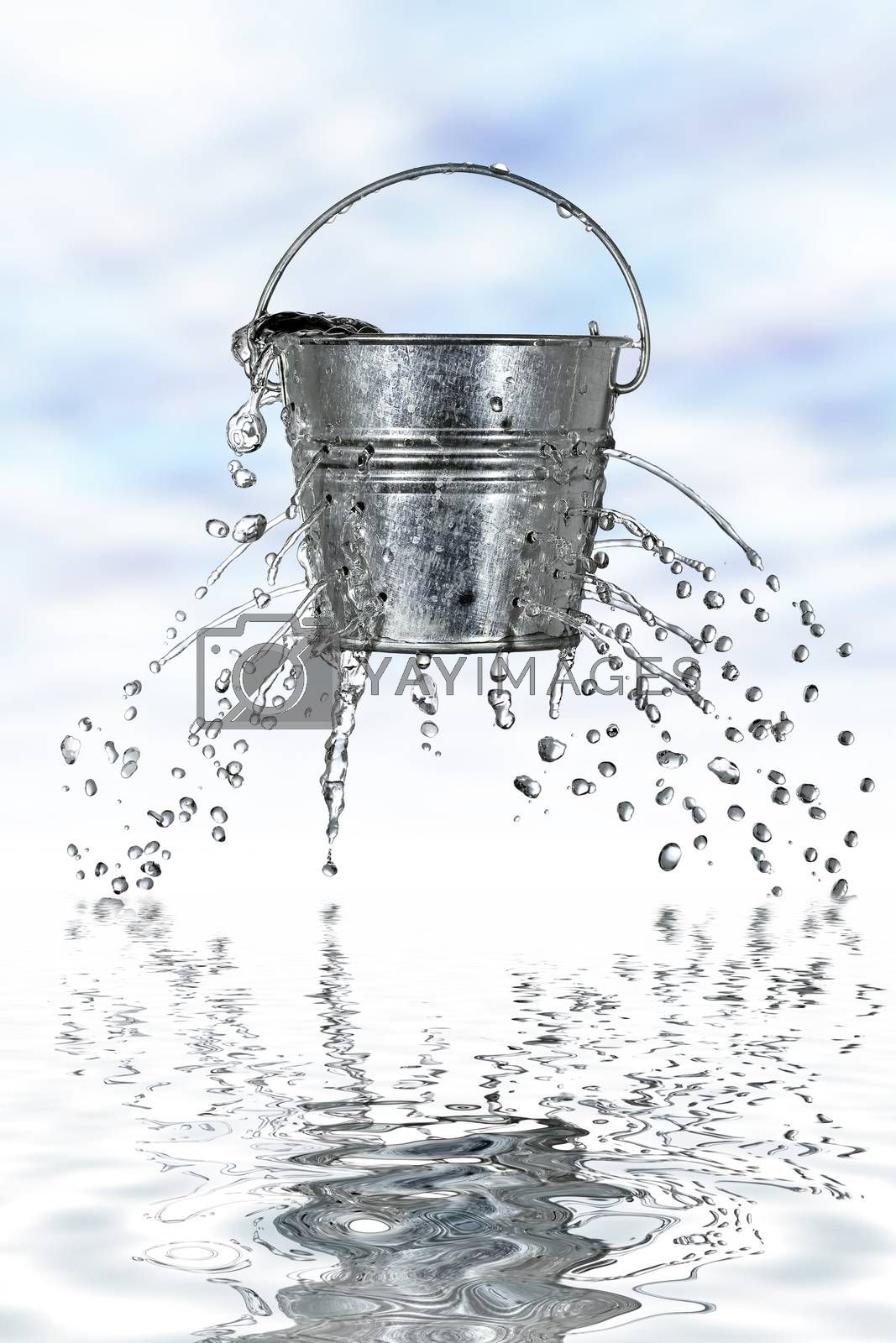 water is coming out of a bucket with holes