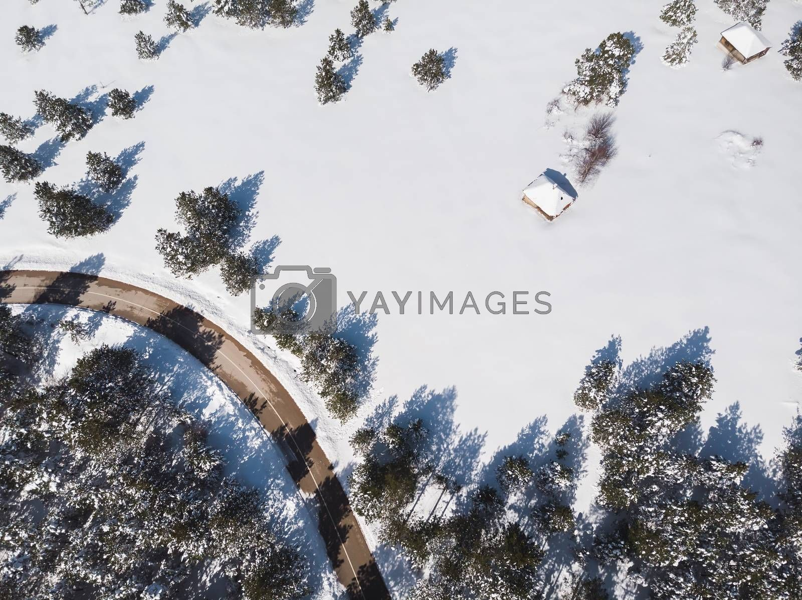 Snowy Mountain Landscape. Aerial view of a forest and road under the snow, copy space
