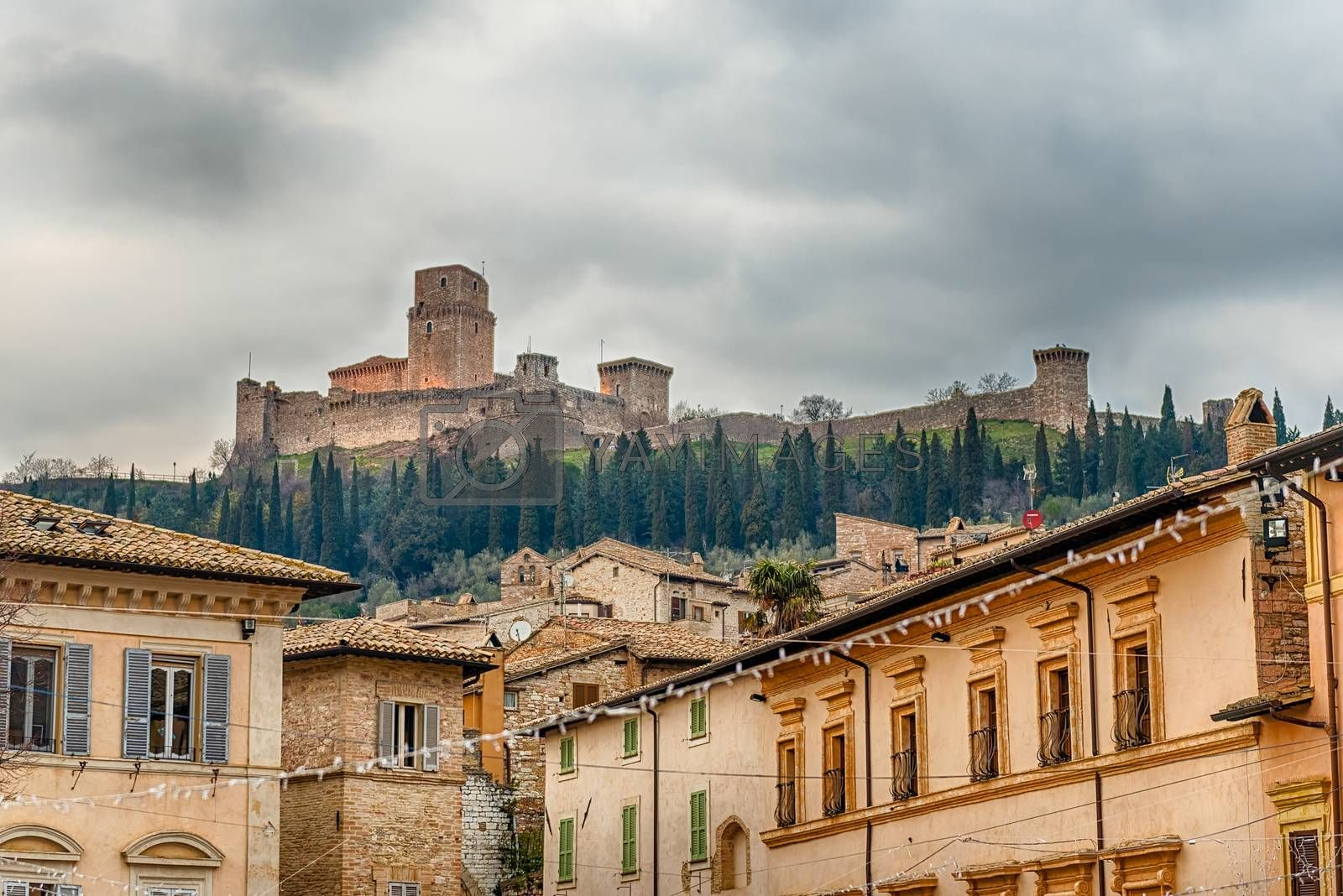 View of Rocca Maggiore, medieval fortress dominating the city of Assisi, one of the most beautiful medieval towns in central Italy