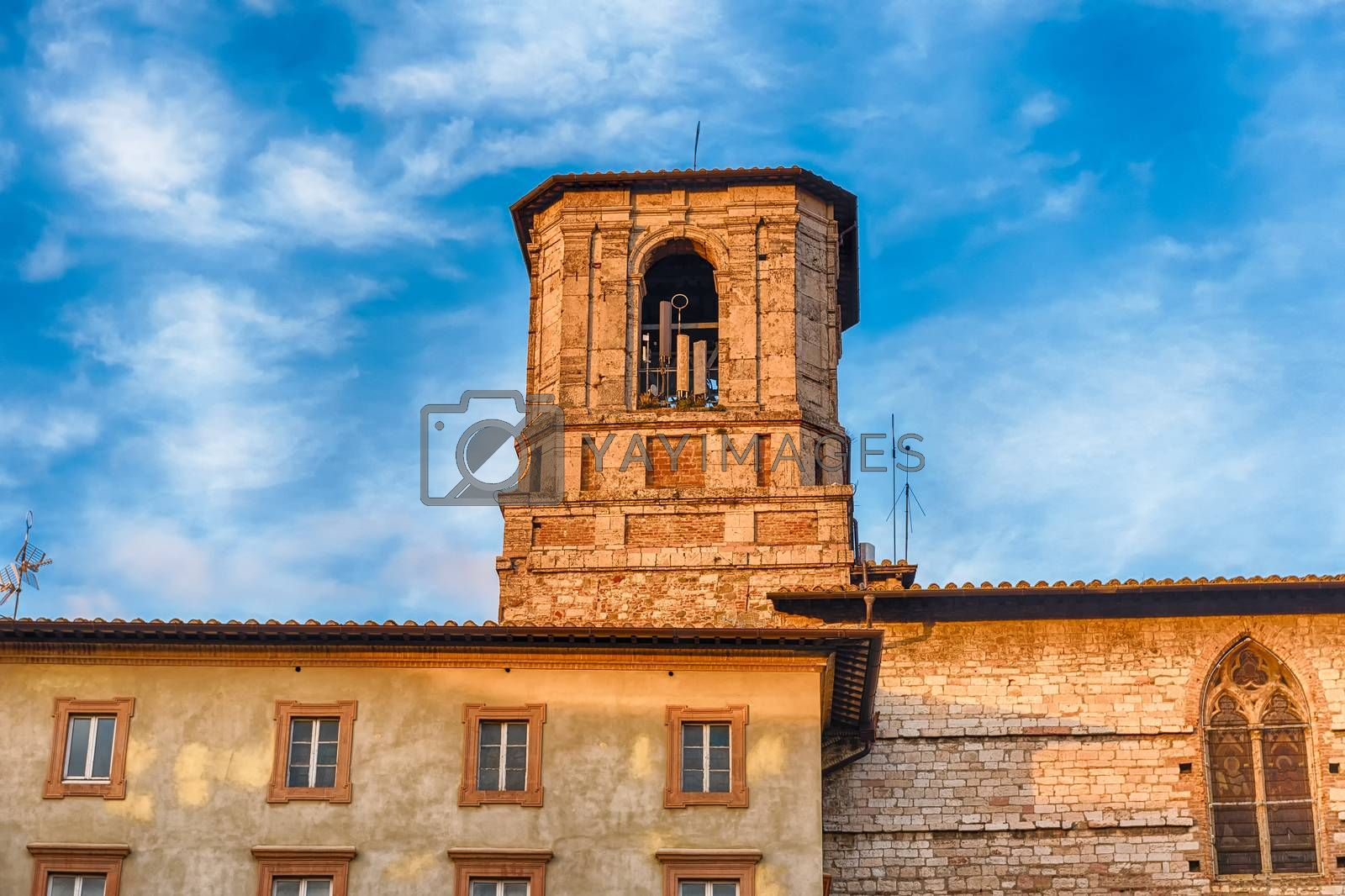 Belltower of the Roman Catholic cathedral in Perugia, Umbria, central Italy, dedicated to Saint Lawrence