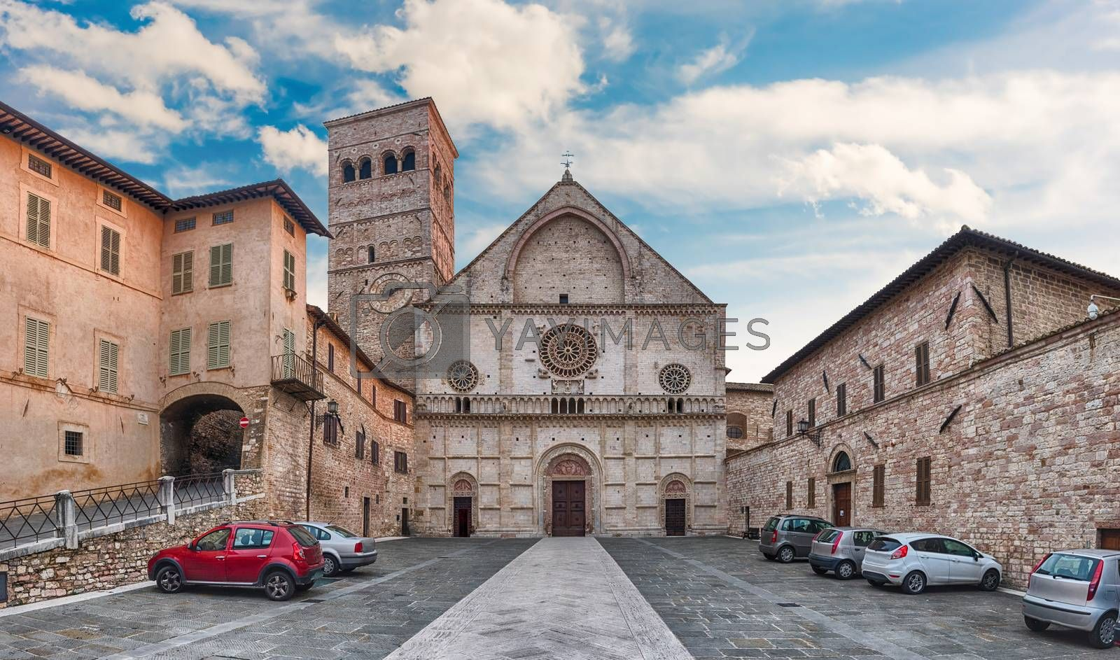 Panoramic view with facade of the medieval Cathedral of Assisi, Italy. The church is dedicated to San Rufino