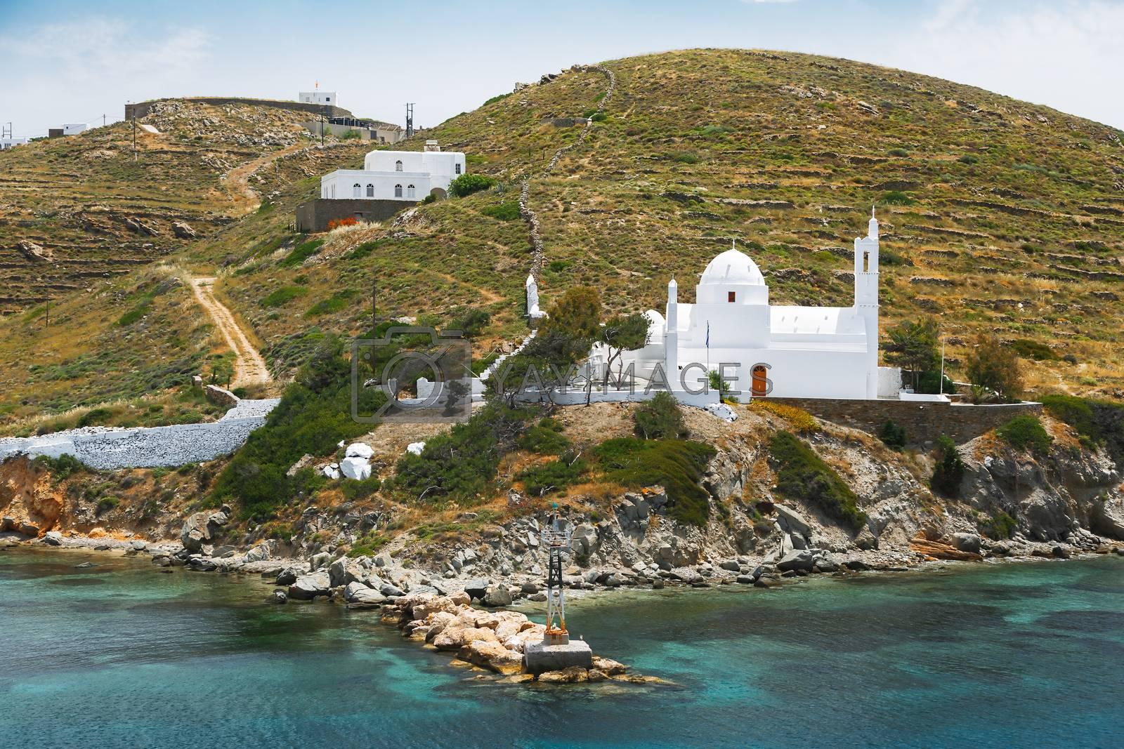 Church of Agia Irini (Saint Irene)  near the Ormos harbour, Ios, Cyclades Islands,  Greece
