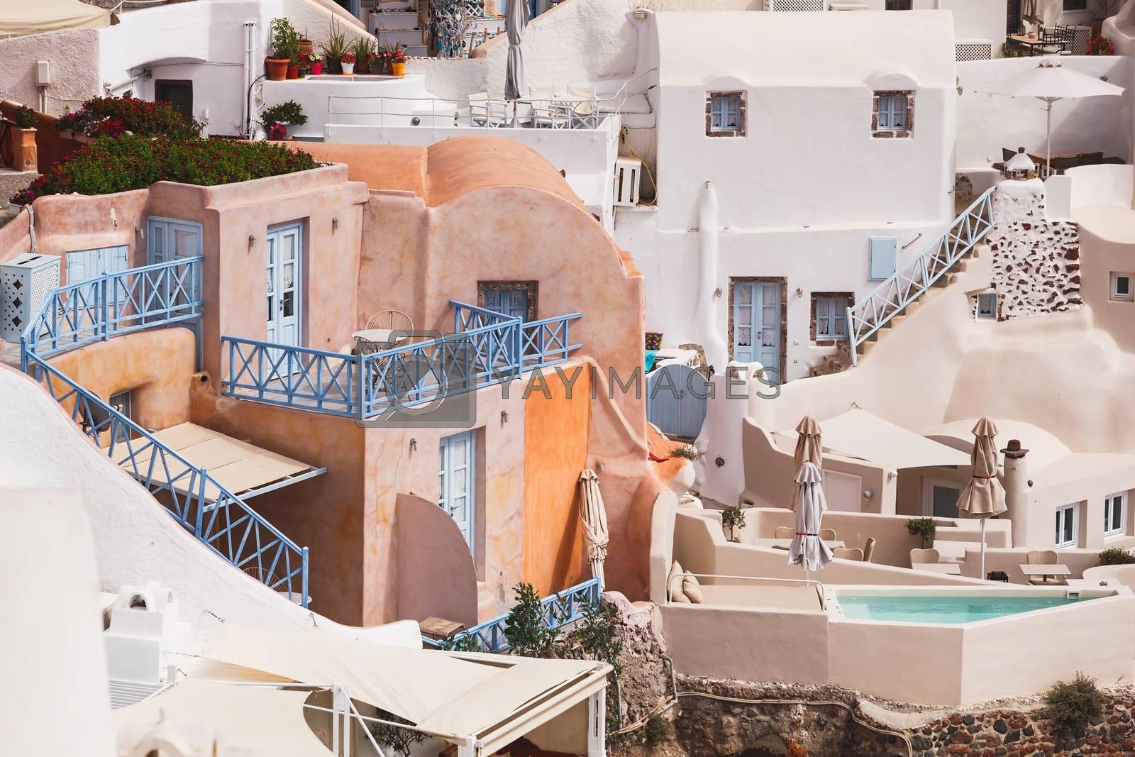 Traditional architecture in Santorini, Oia village,  Greece