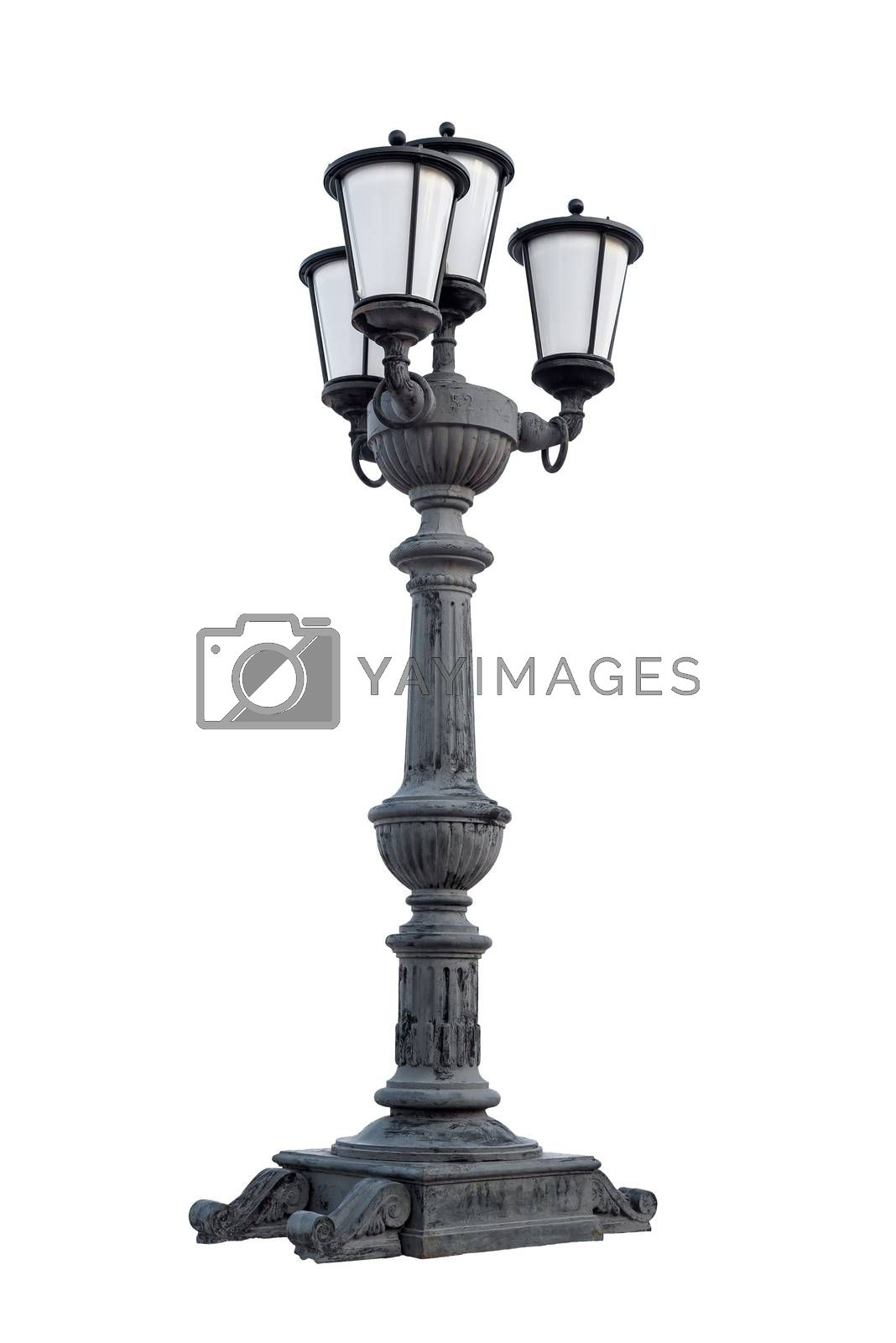 Street lantern isolated on white background with clipping path
