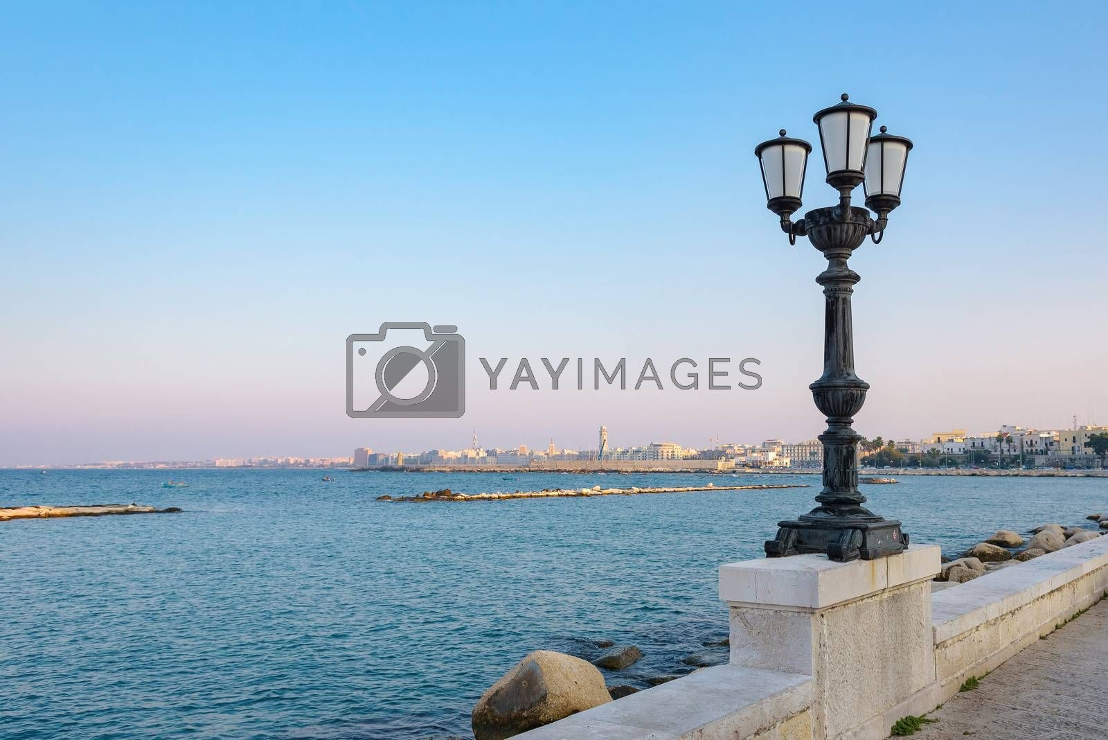 Afternoon view of seafront in Bari, Apulia, Italy