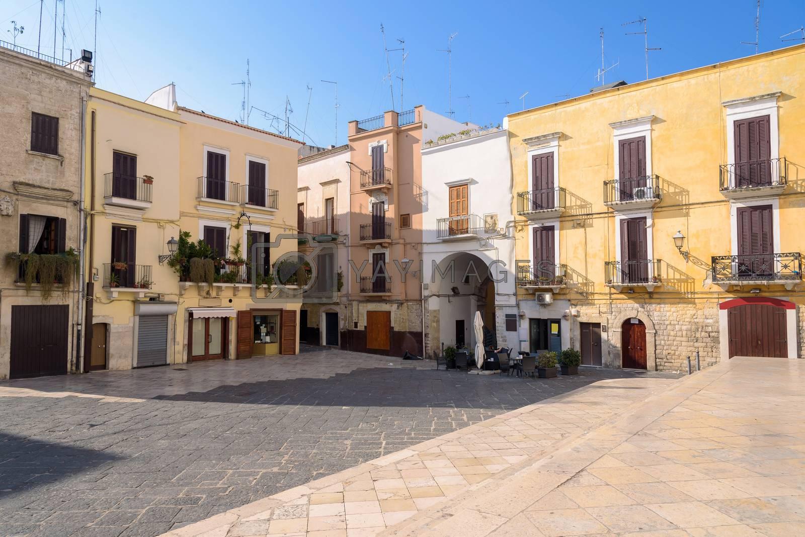 View of small town square called Piazza dell'Odegitria in Bari, Italy