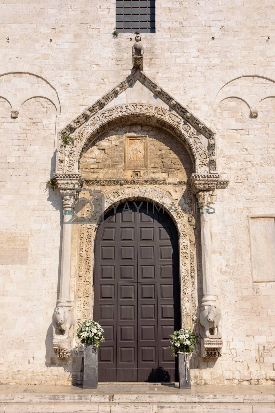 Decorated entrance to the Basilica of Saint Nicholas in Bari, Alupia, Italy
