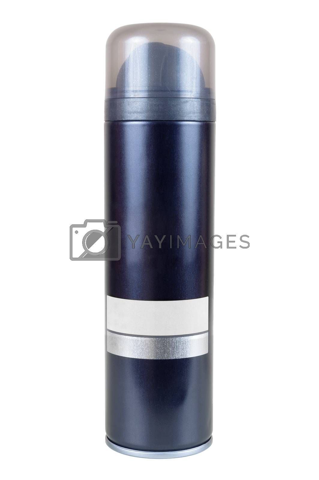 Can for shaving foam or gel isolated on white background with clipping path