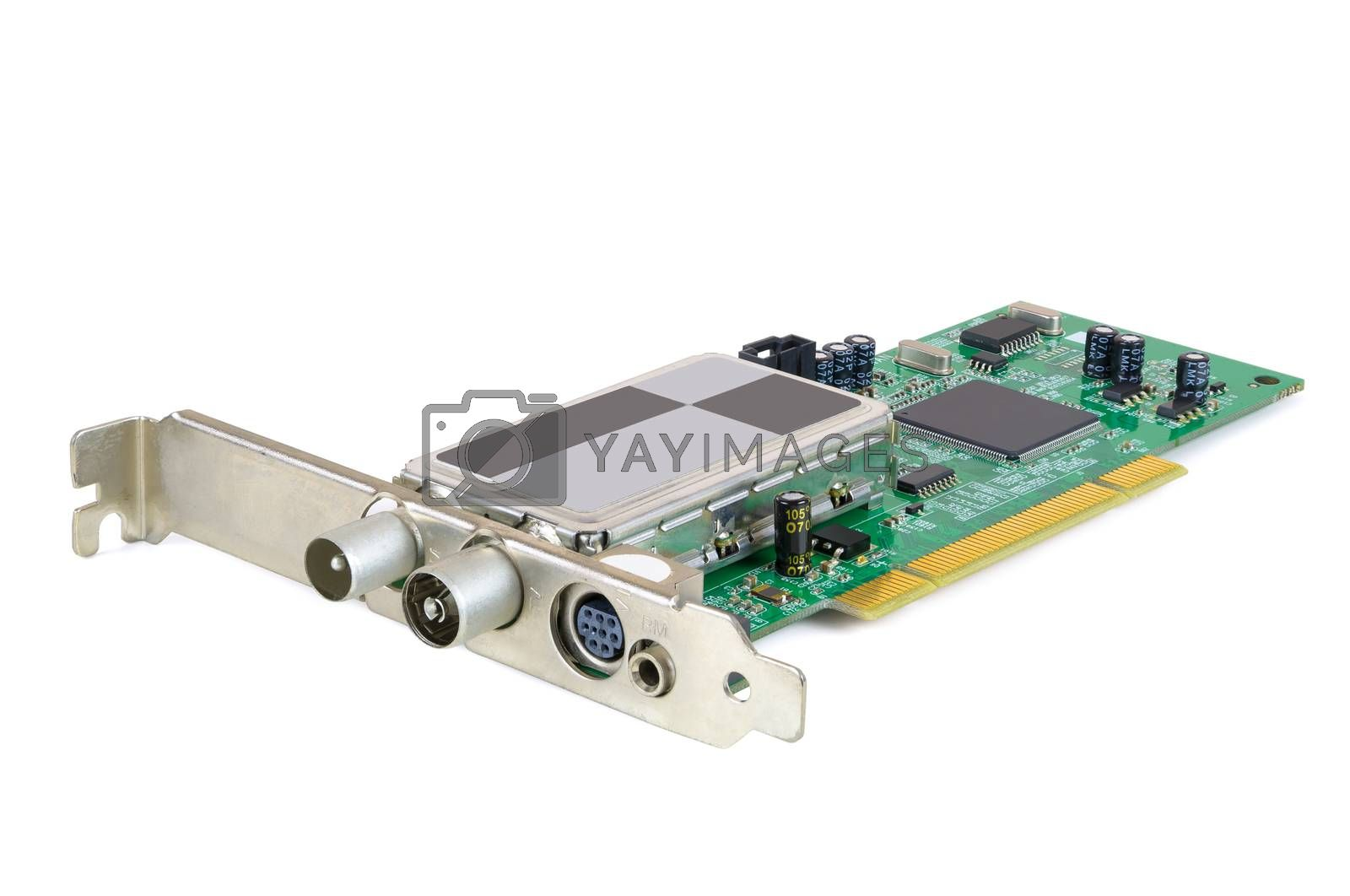 Analog TV card for desktop computer isolated on white background with clipping path