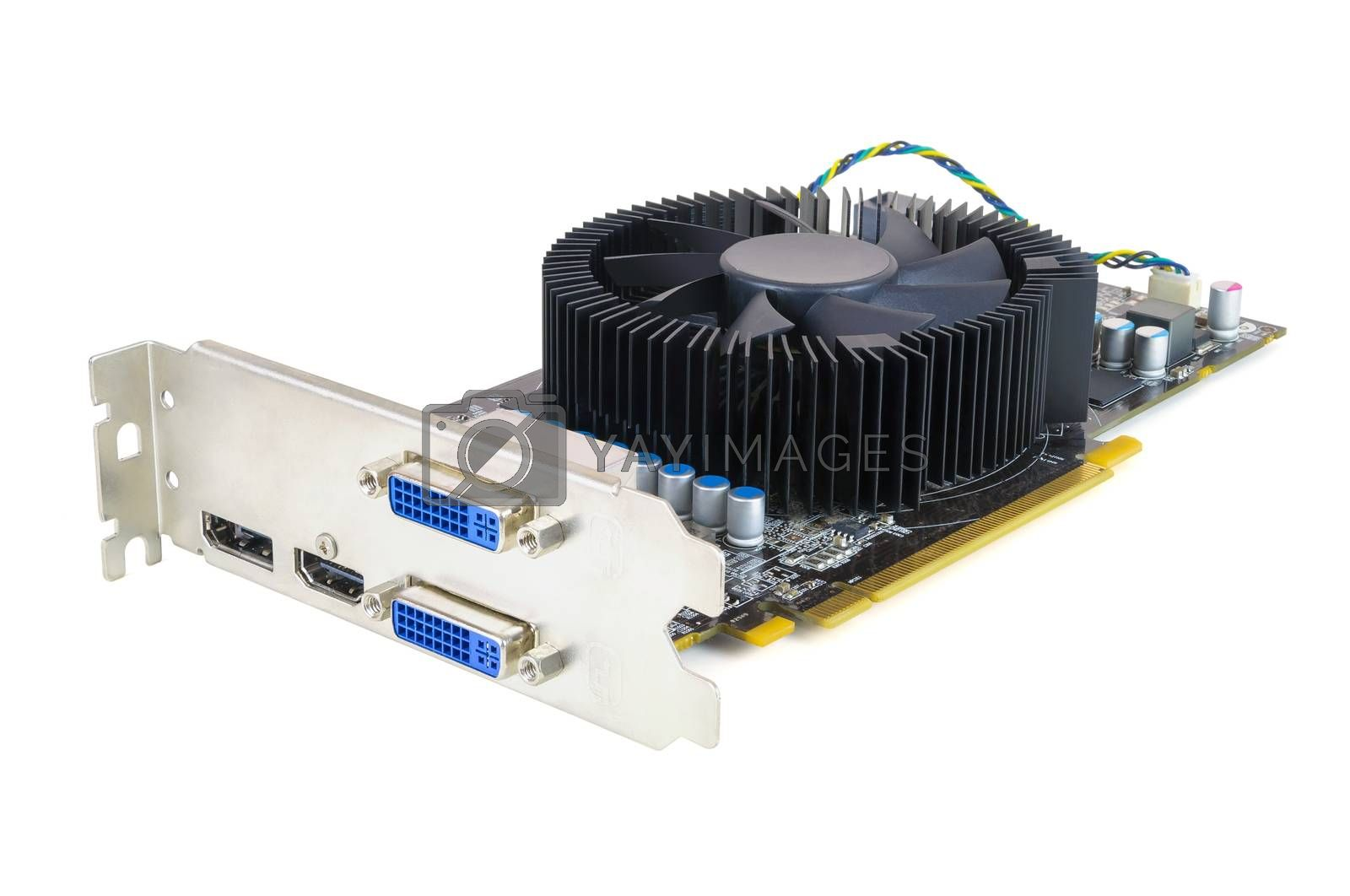 Computer graphic card isolated on white background with clipping path