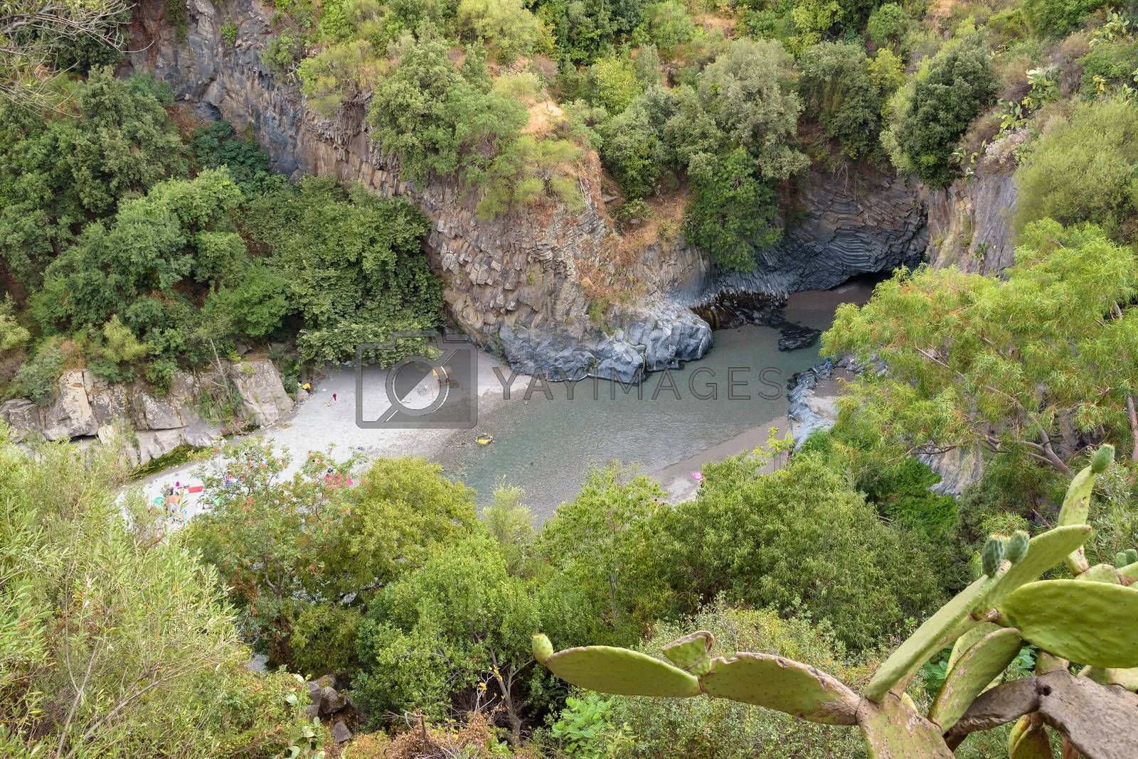 View of Alcantara river gorge on Sicily, Italy