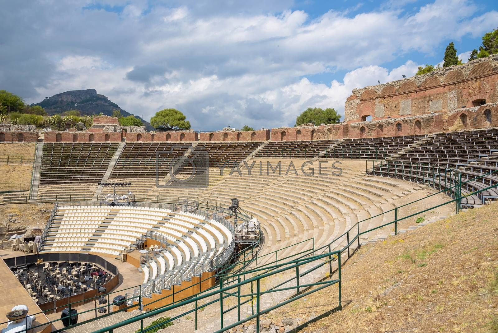 Ruins of the ancient Greek theater in Taormina, Sicily, Italy
