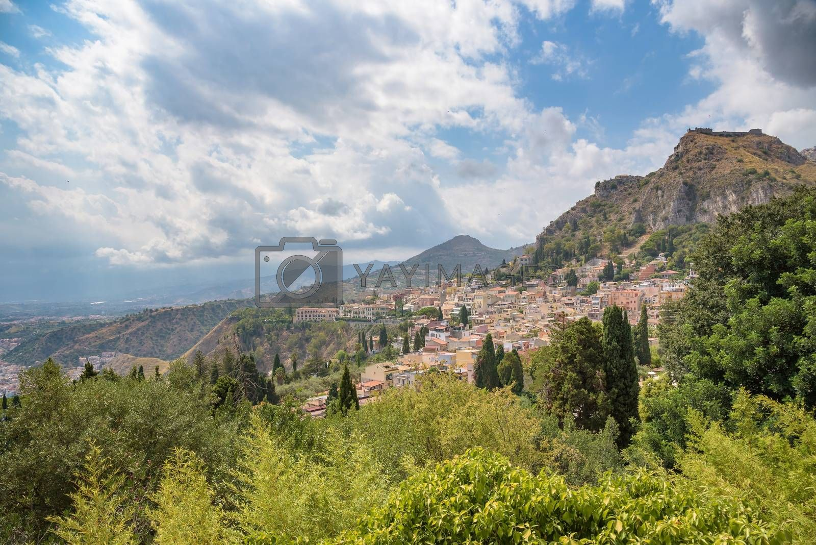 Beautiful view of picturesque town of Taormina, Sicily, Italy