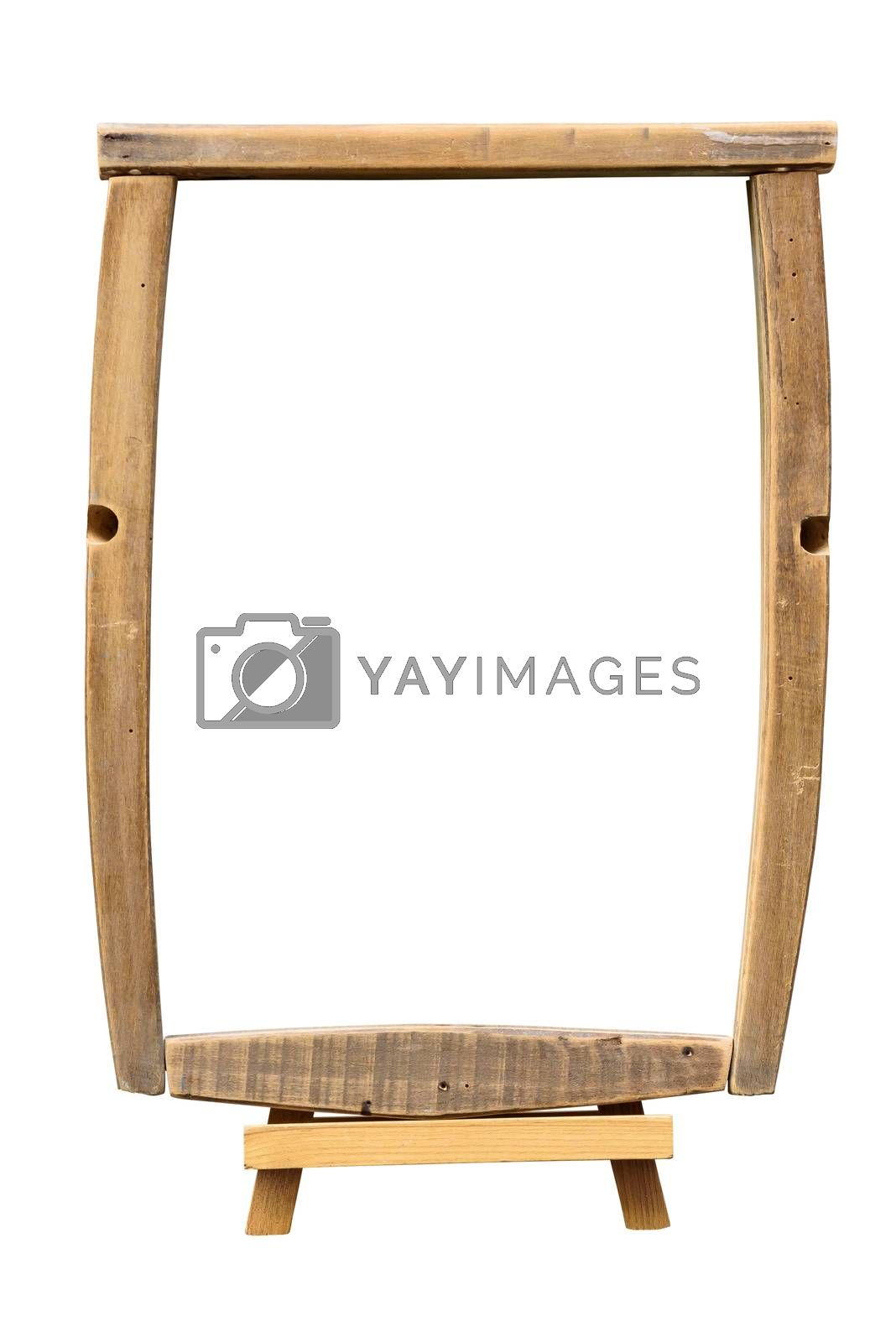 Wooden picture frame on the easel isolated on white background with clipping path