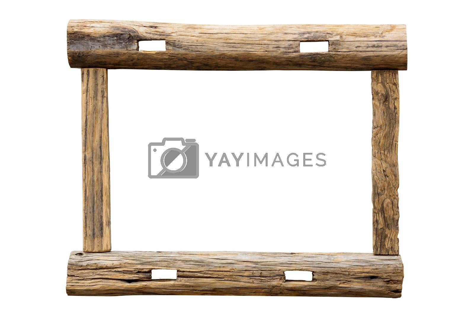 Raw wooden picture frame isolated on white background with clipping path