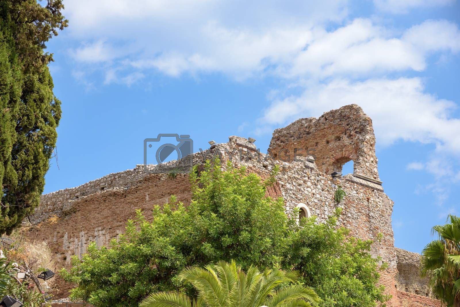 Ruins of the ancient theater in Taormina, Sicily, Italy
