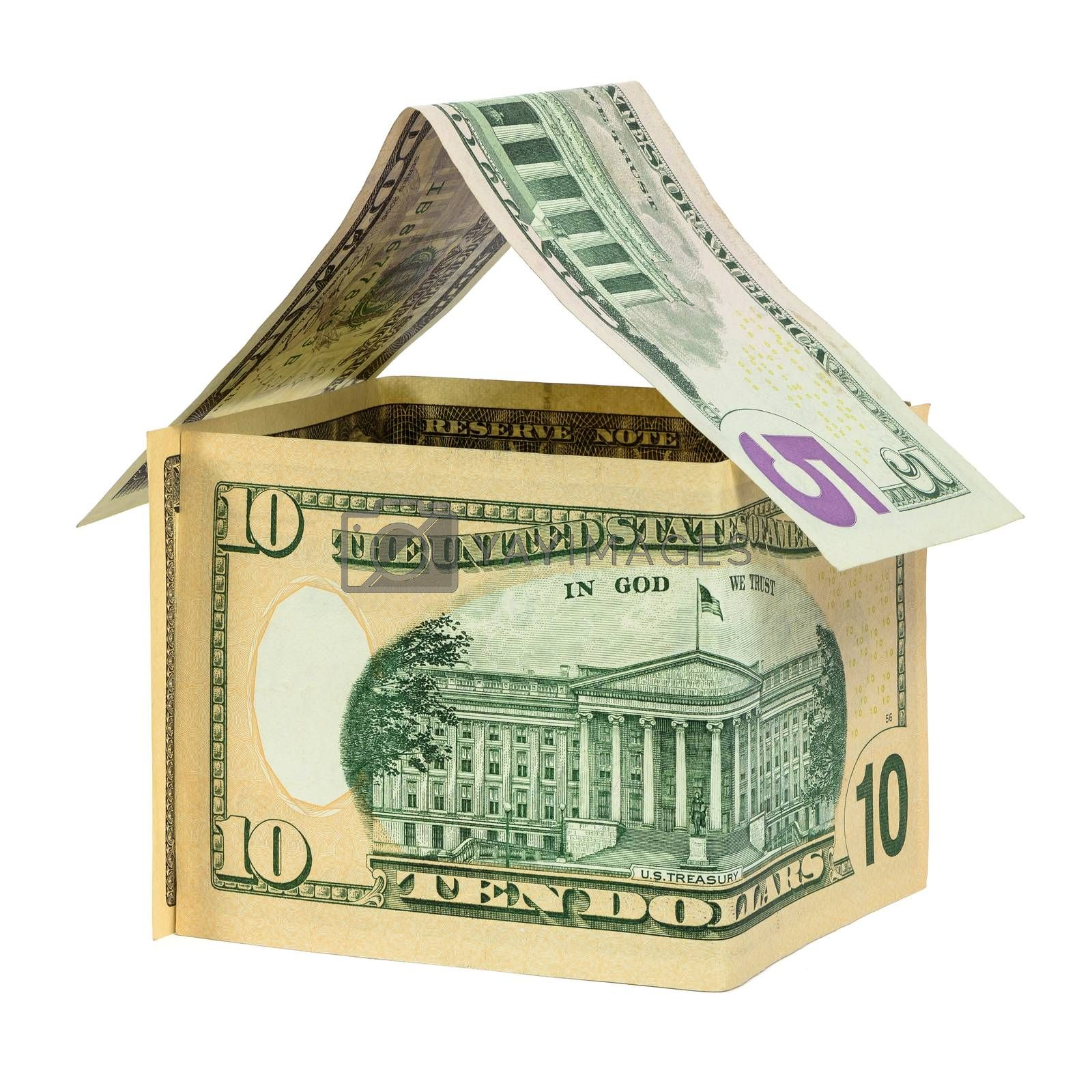 Model house made from dollar banknotes isolated on white background with clipping path
