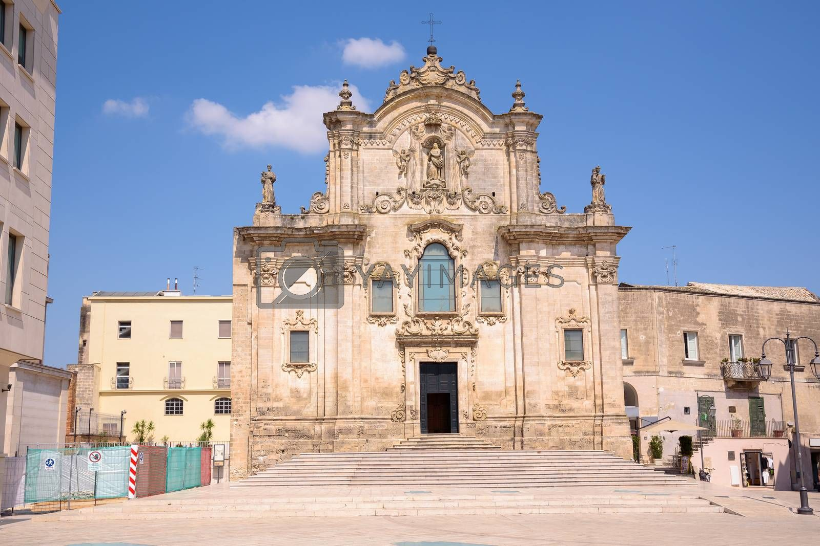 Facade of the Church of Saint Francis of Assisi in Matera, Basilicata, Italy