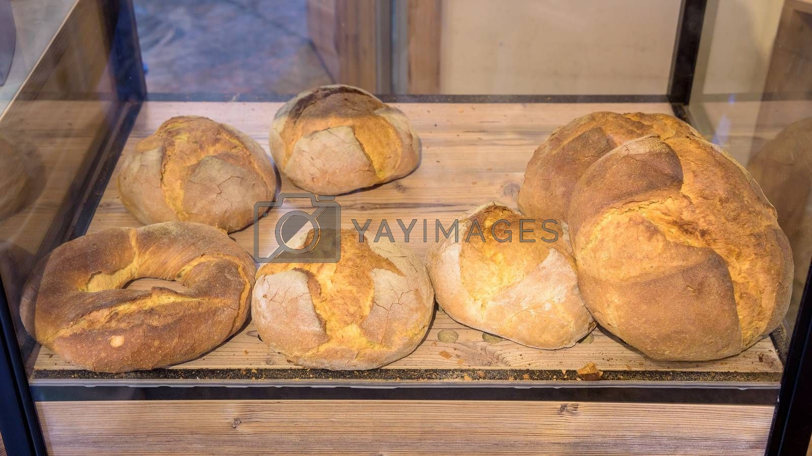 Fresh bread and buns laying on a shop shelf
