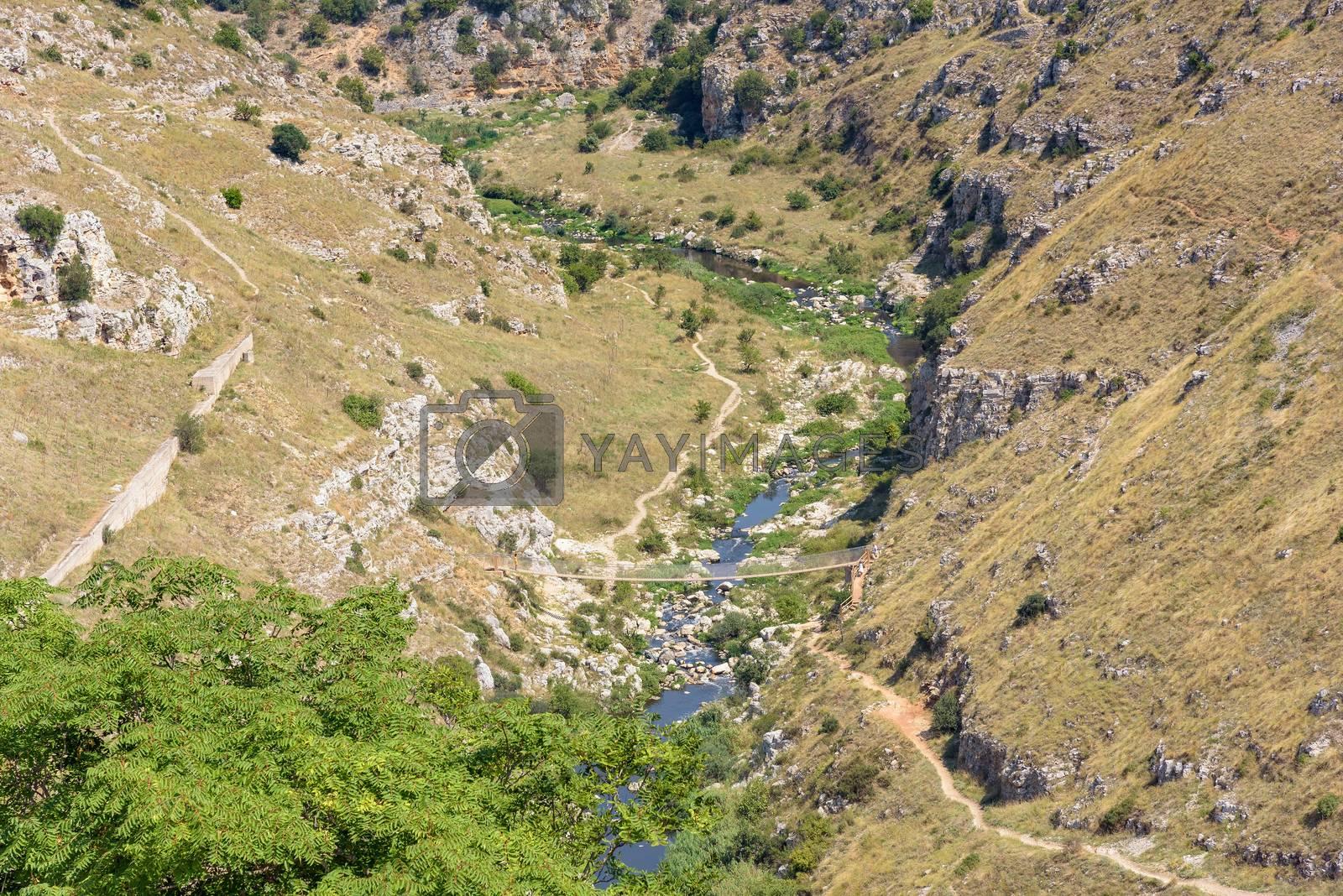 Gorge of the Gravina di Matera river, Basilicata, Italy