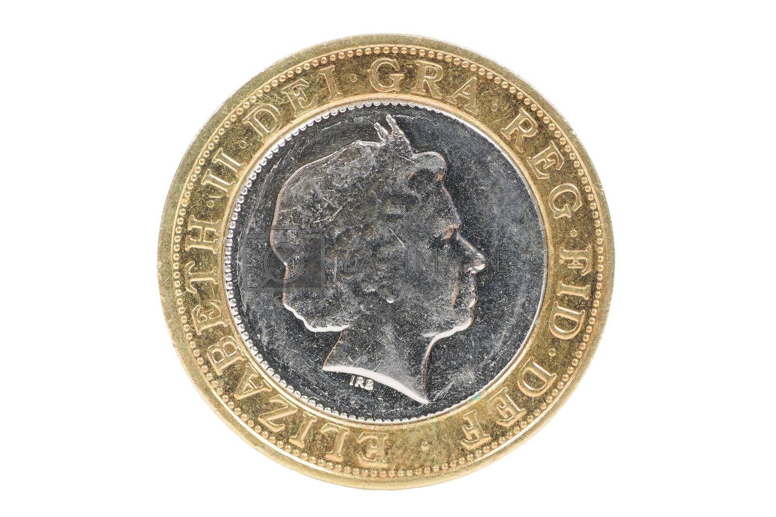 Closeup of british 2 pounds coin isolated on white background with clipping path