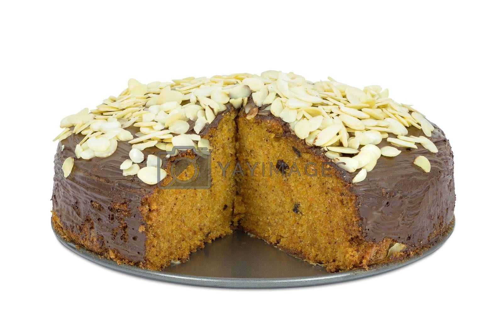 Carrot cake with almond flakes isolated on white background with clipping path