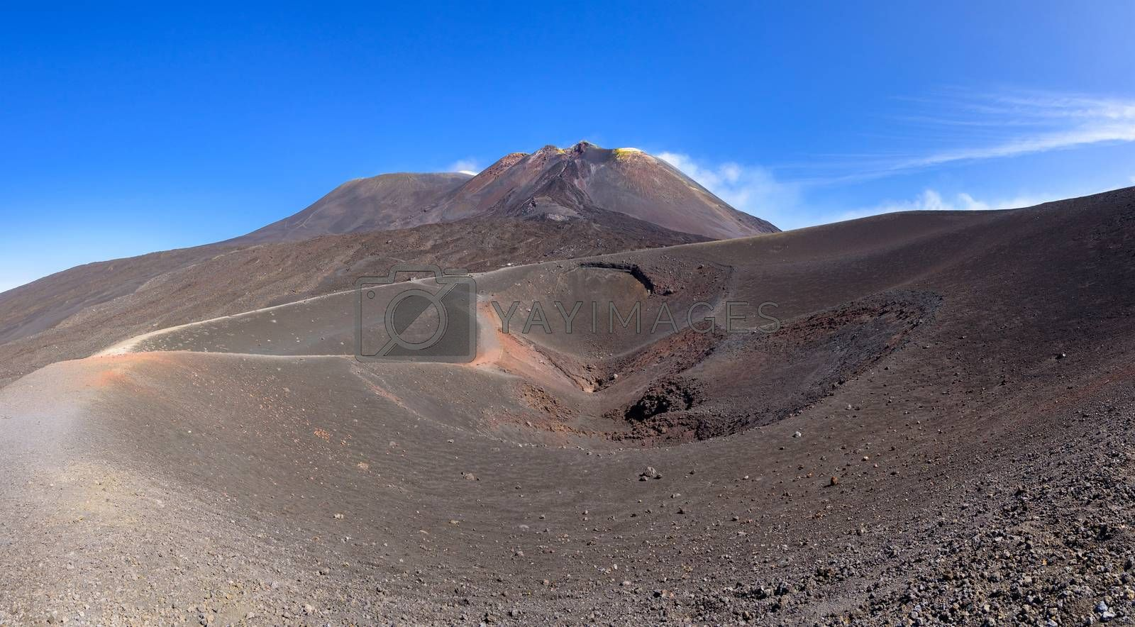 Panoramic view of Etna crater created by eruption in 2002 with main craters in the background, Sicily, Italy