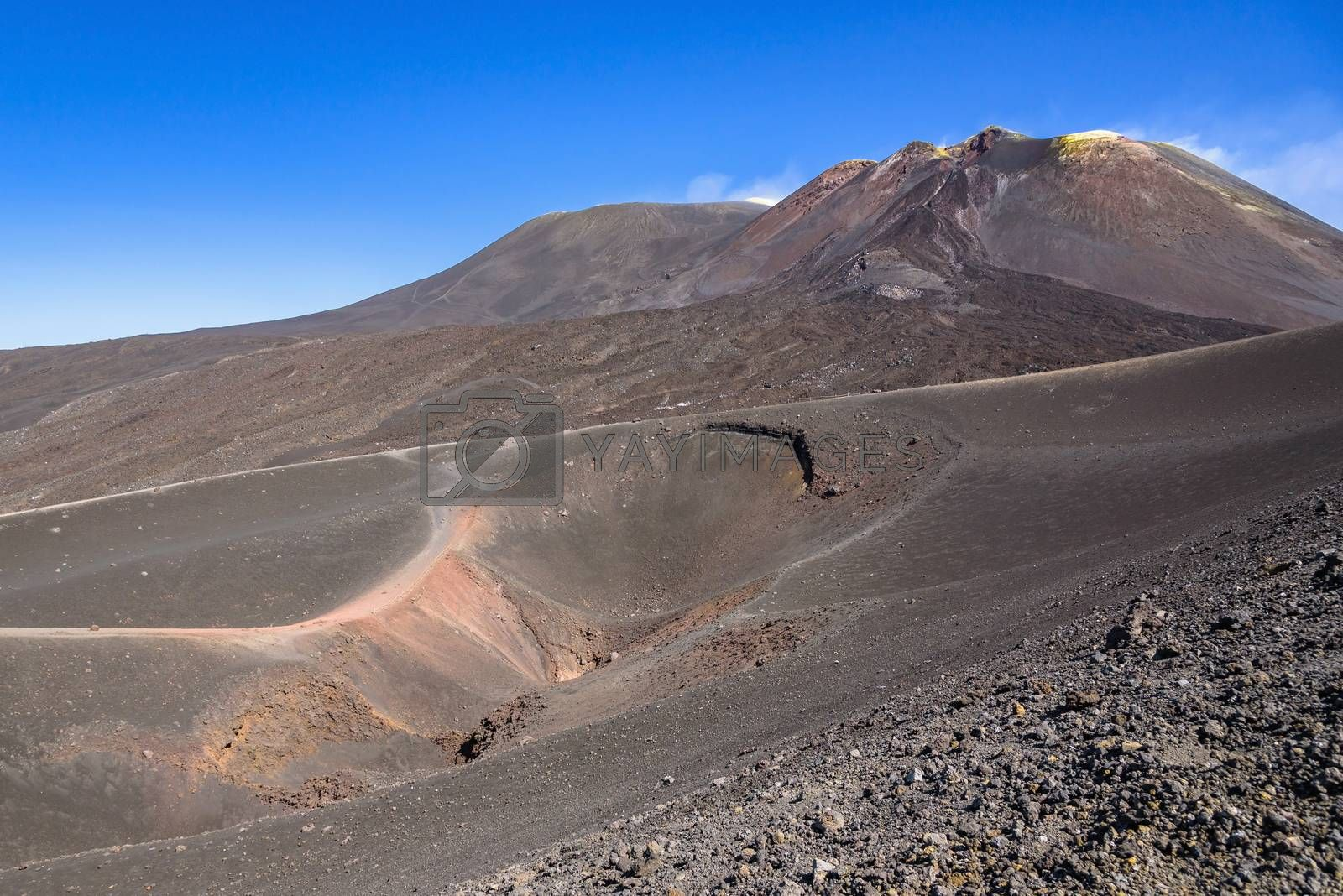 View of Etna crater created by eruption in 2002 with main craters in the background, Sicily, Italy