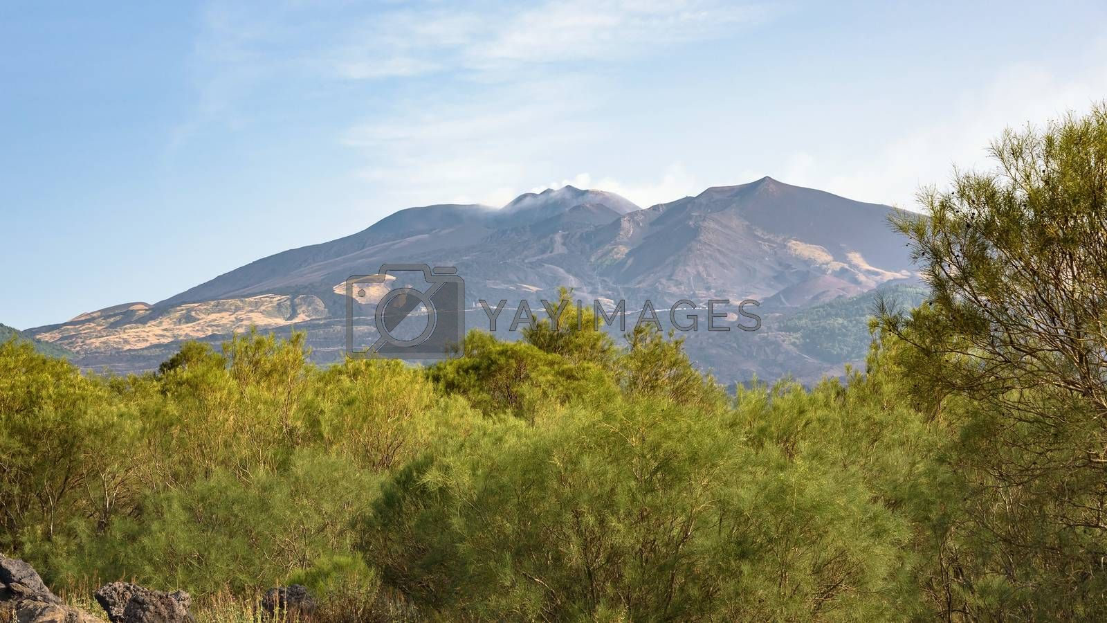 Panoramic view of Mount Etna on the east coast of Sicily, Italy
