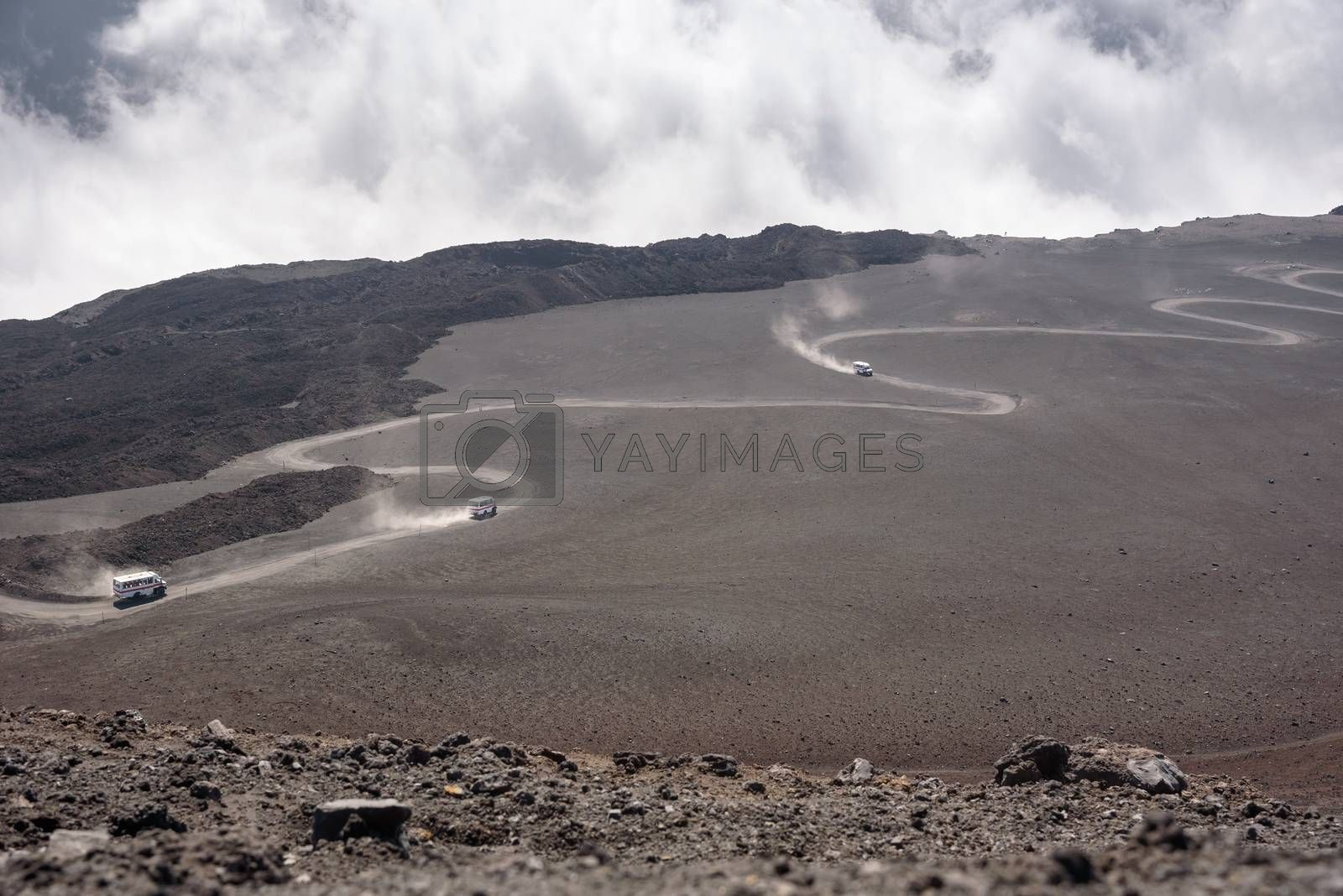 Road on the lava field to the top of Mount Etna, Sicily, Italy