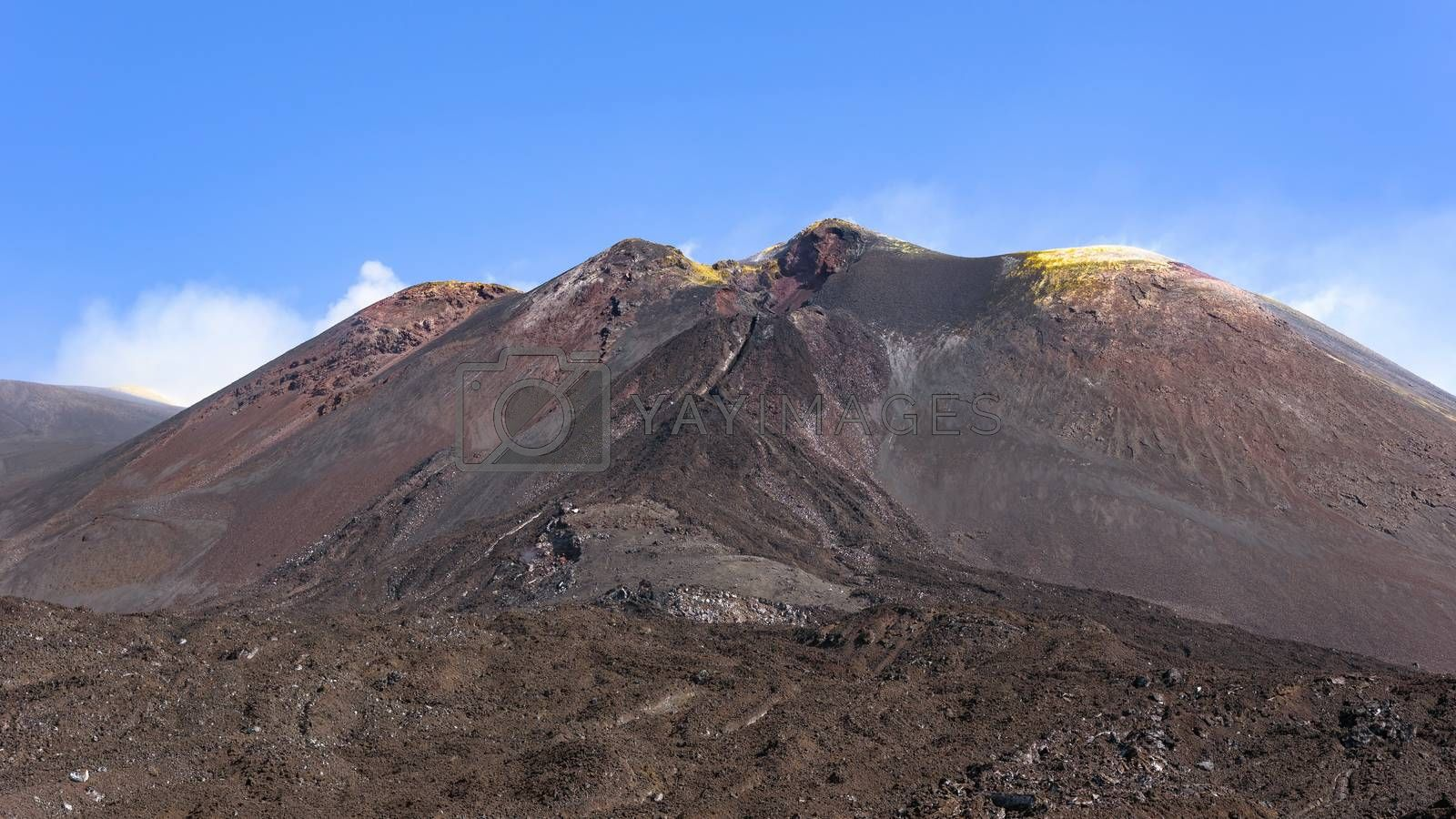 View of the Mount Etna main craters, Sicily, Italy