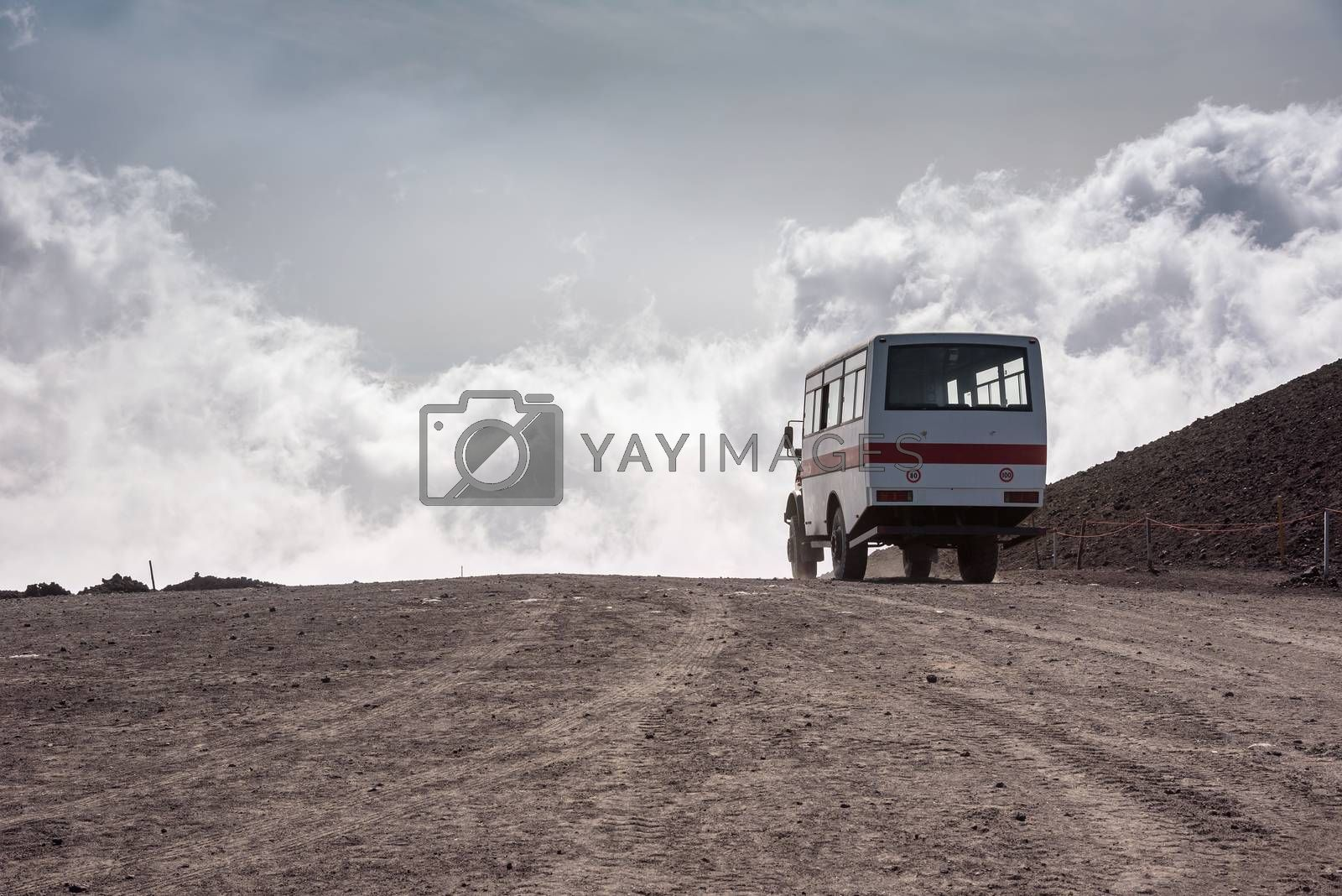 Departing bus from Torre del Filosofo on Mount Etna, Sicily, Italy