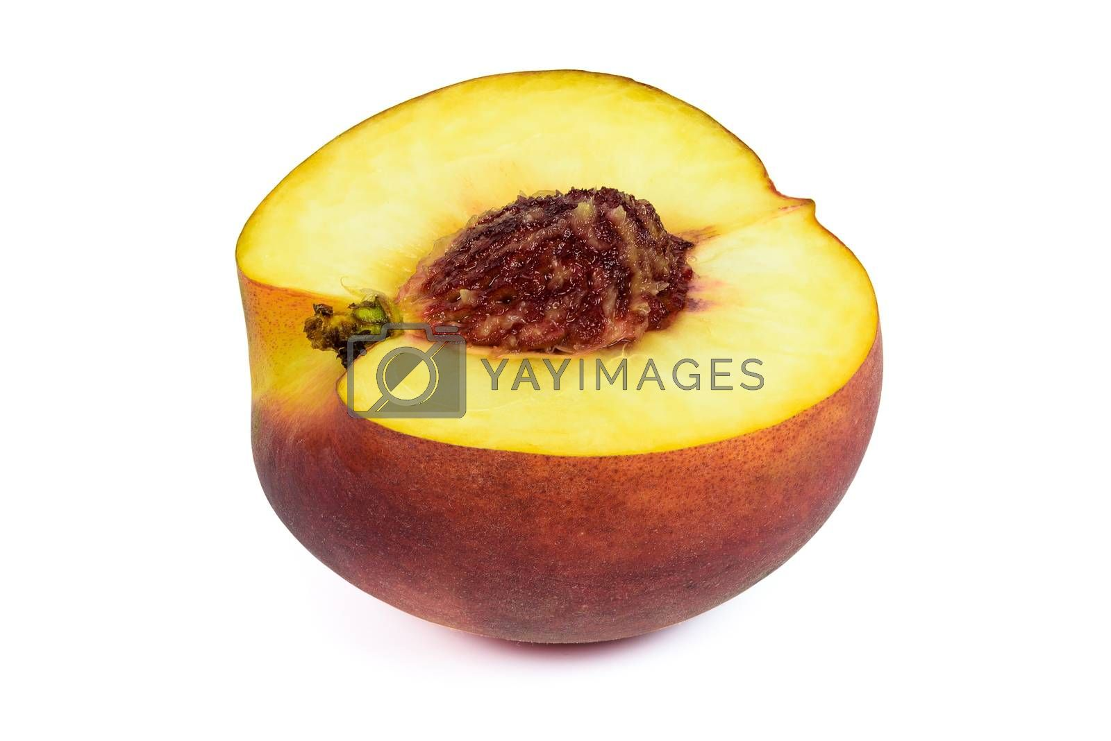 Half of peach isolated on white background with clipping path
