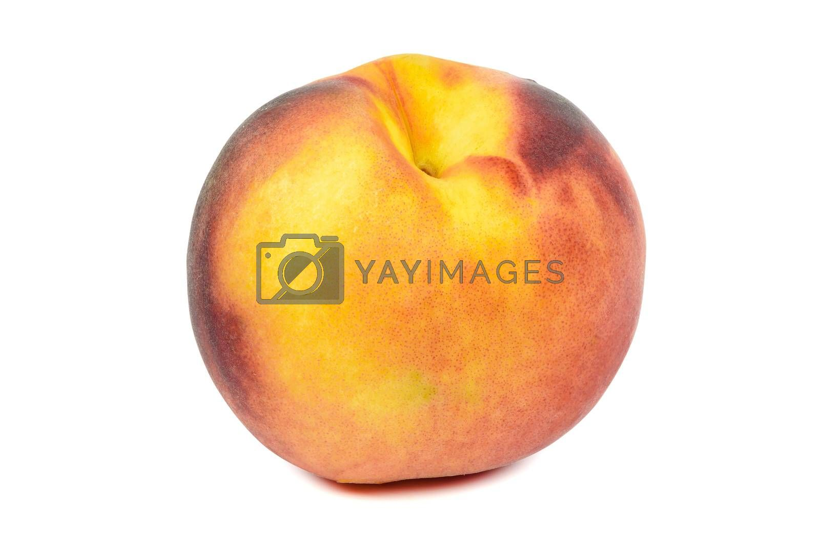 Ripe peach isolated on white background with clipping path