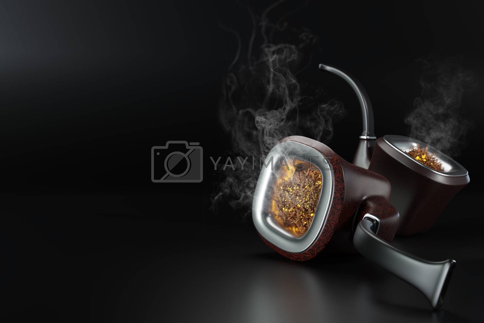 Two vintage pipe smoke placed on black background in dark. There is white smoke caused by burning floating out of a pipe. Concept of anti-tobacco and world no tobacco day. 3D illustrator rendering.
