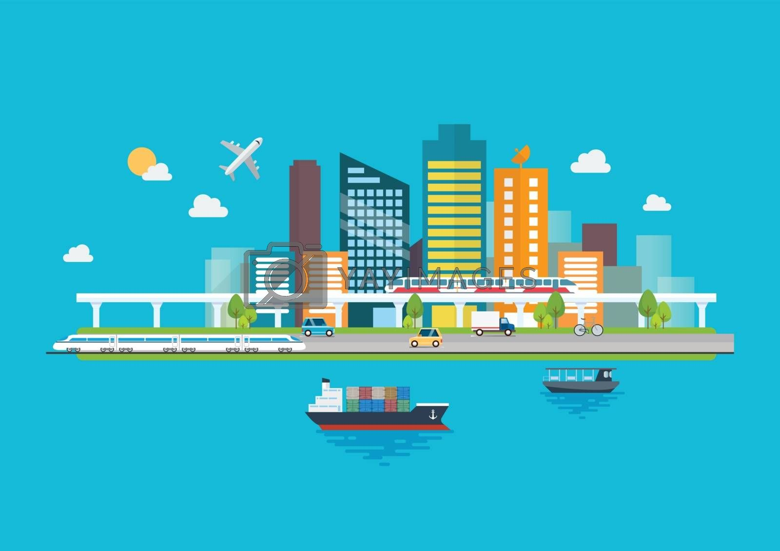 Cityscape with Infrastructure and Transportation. Vector illustration
