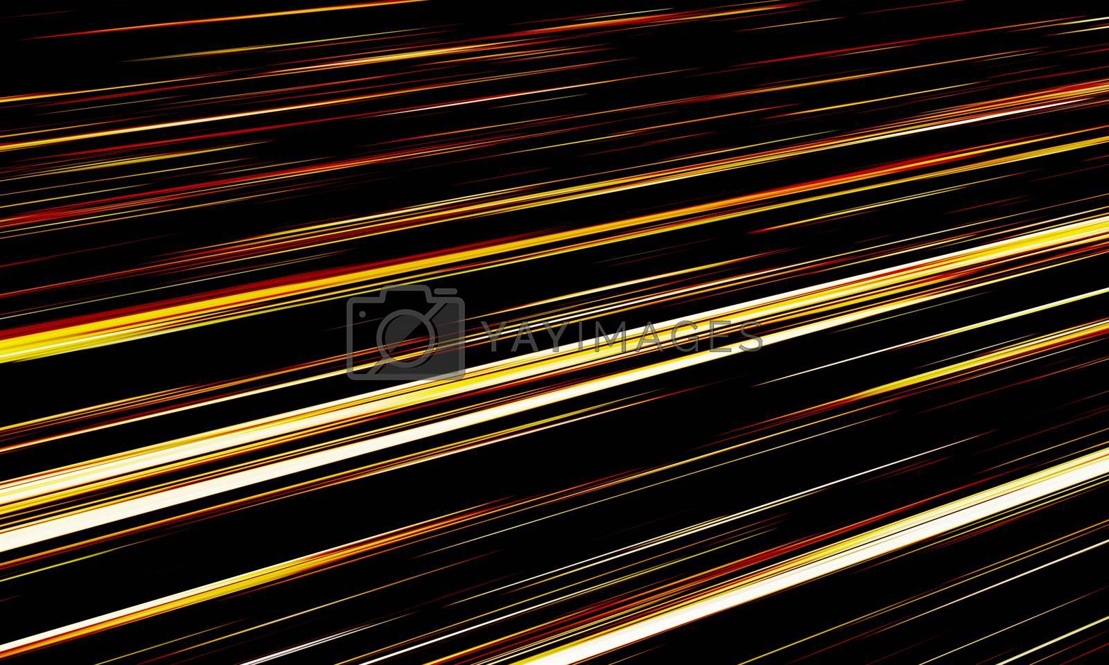 Golden Light  Rend line and stripes moving fast over dark background. 3D Rendering.