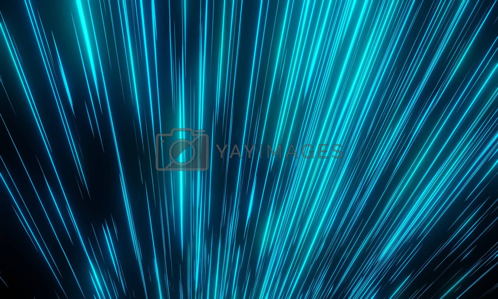 blue light with glowing look like stardust or Meteor and stripes moving fast over dark background for cyber space and hyper space moving concept. 3D Rendering.
