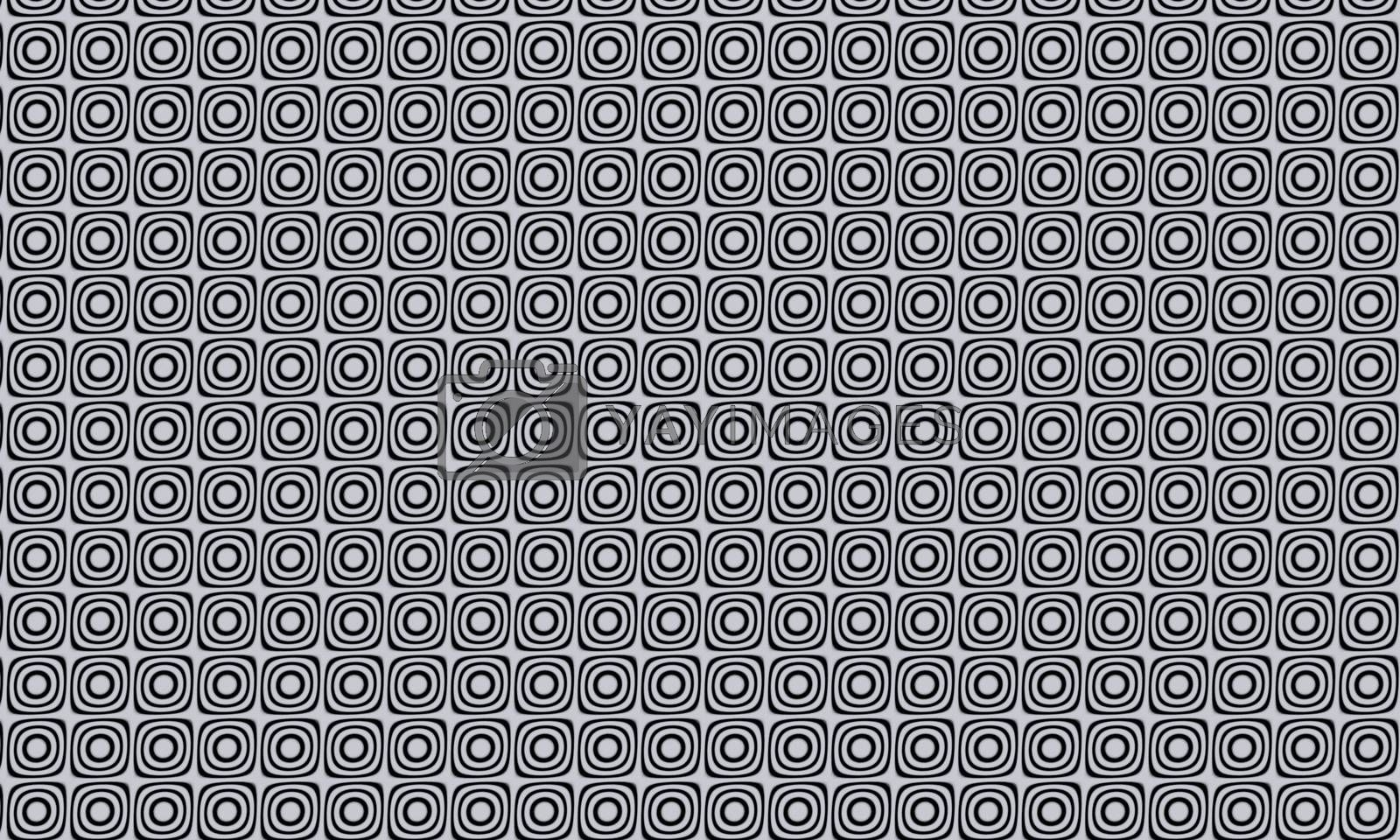 Black and white abstract circle pattern on white background use for  background and wallpaper. 3D software rendering.